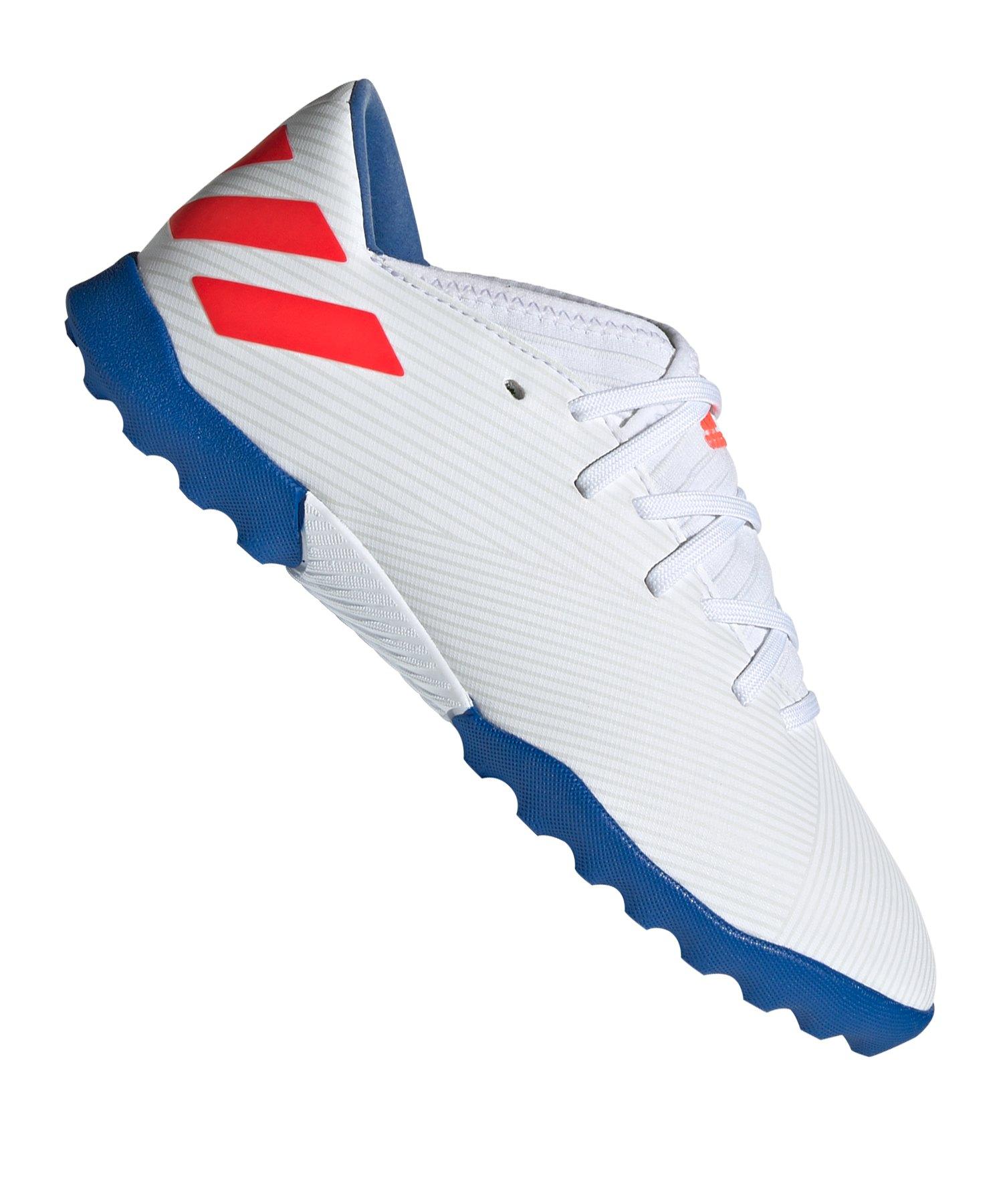 adidas NEMEZIZ Messi 19.3 TF J Kids Weiss Blau - Weiss