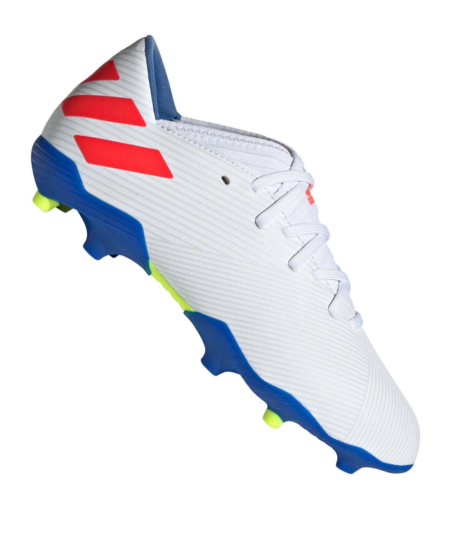 adidas NEMEZIZ Messi 19.3 FG J Kids Weiss Blau - Weiss