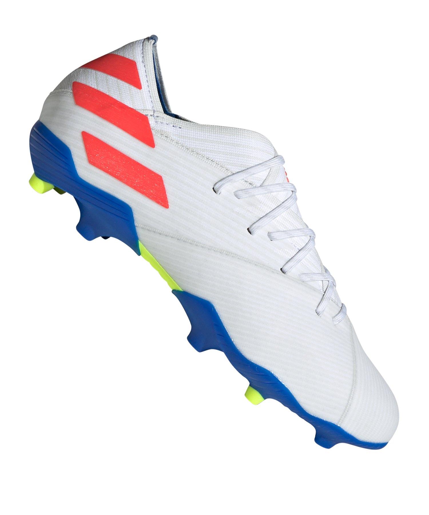 adidas NEMEZIZ Messi 19.1 FG J Kids Weiss Blau - Weiss