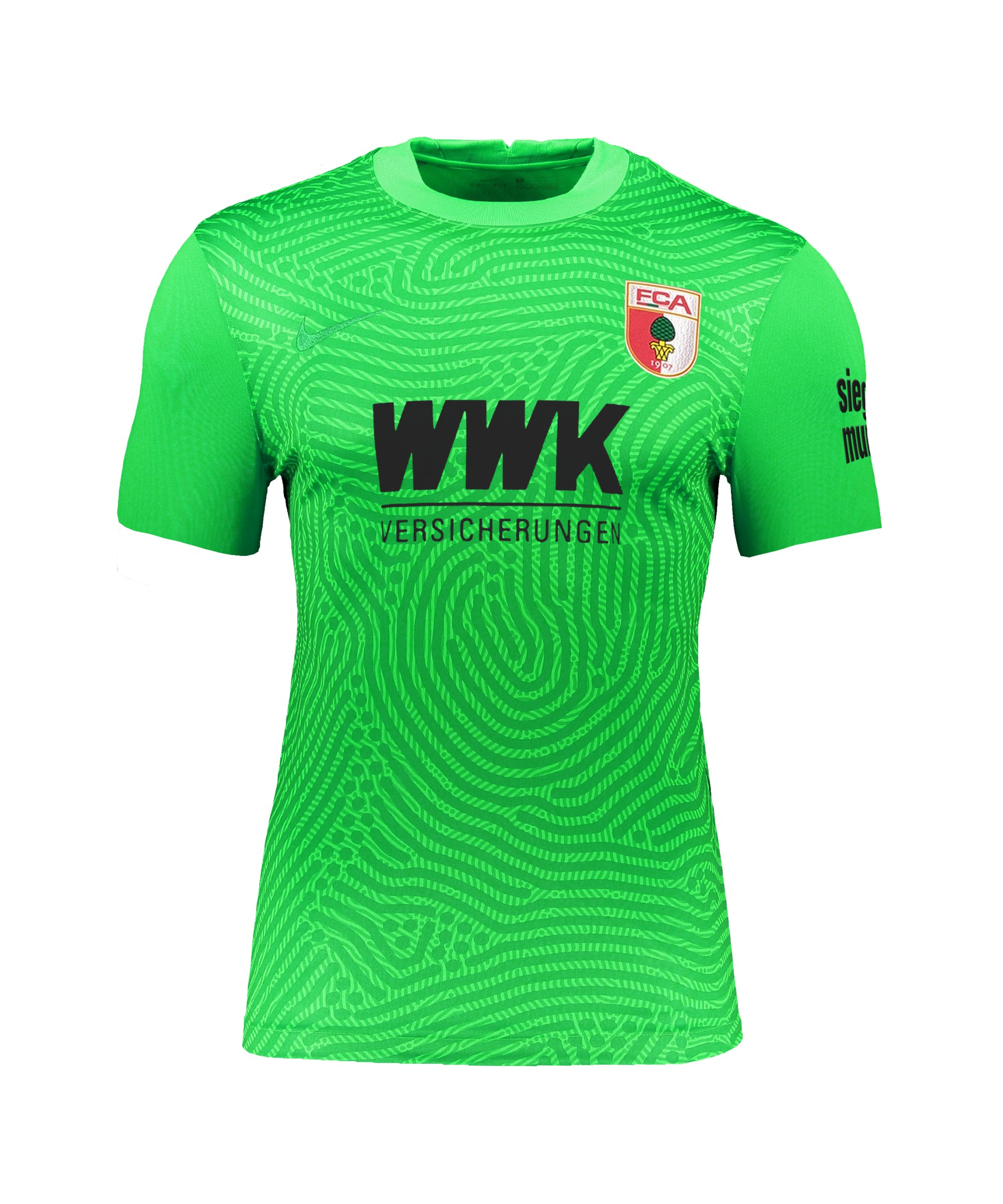 Nike FC Augsburg Torwarttrikot 2021/2022 kurzarm Grün F398 - gruen