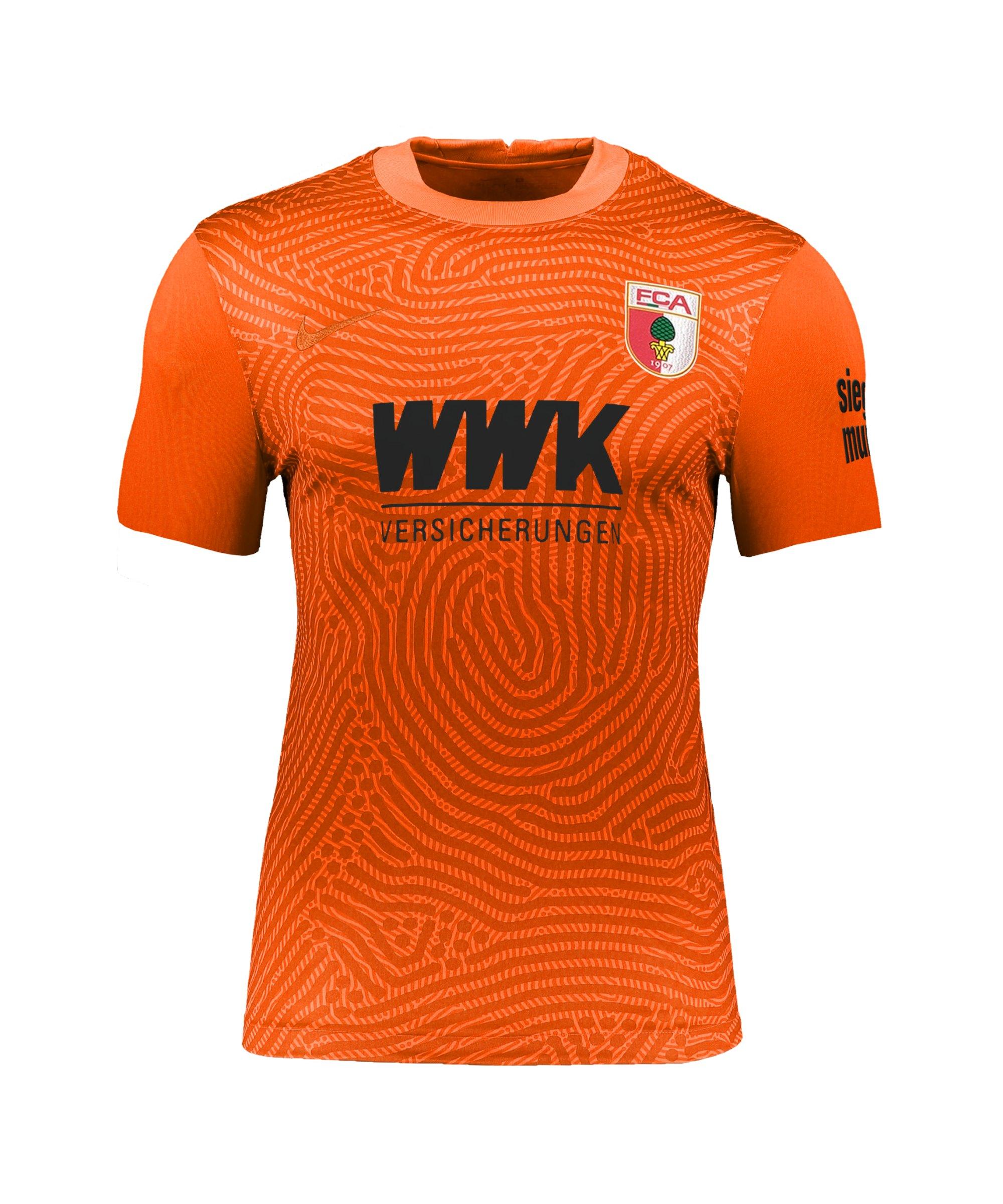 Nike FC Augsburg Torwarttrikot 2021/2022 kurzarm Orange F803 - orange
