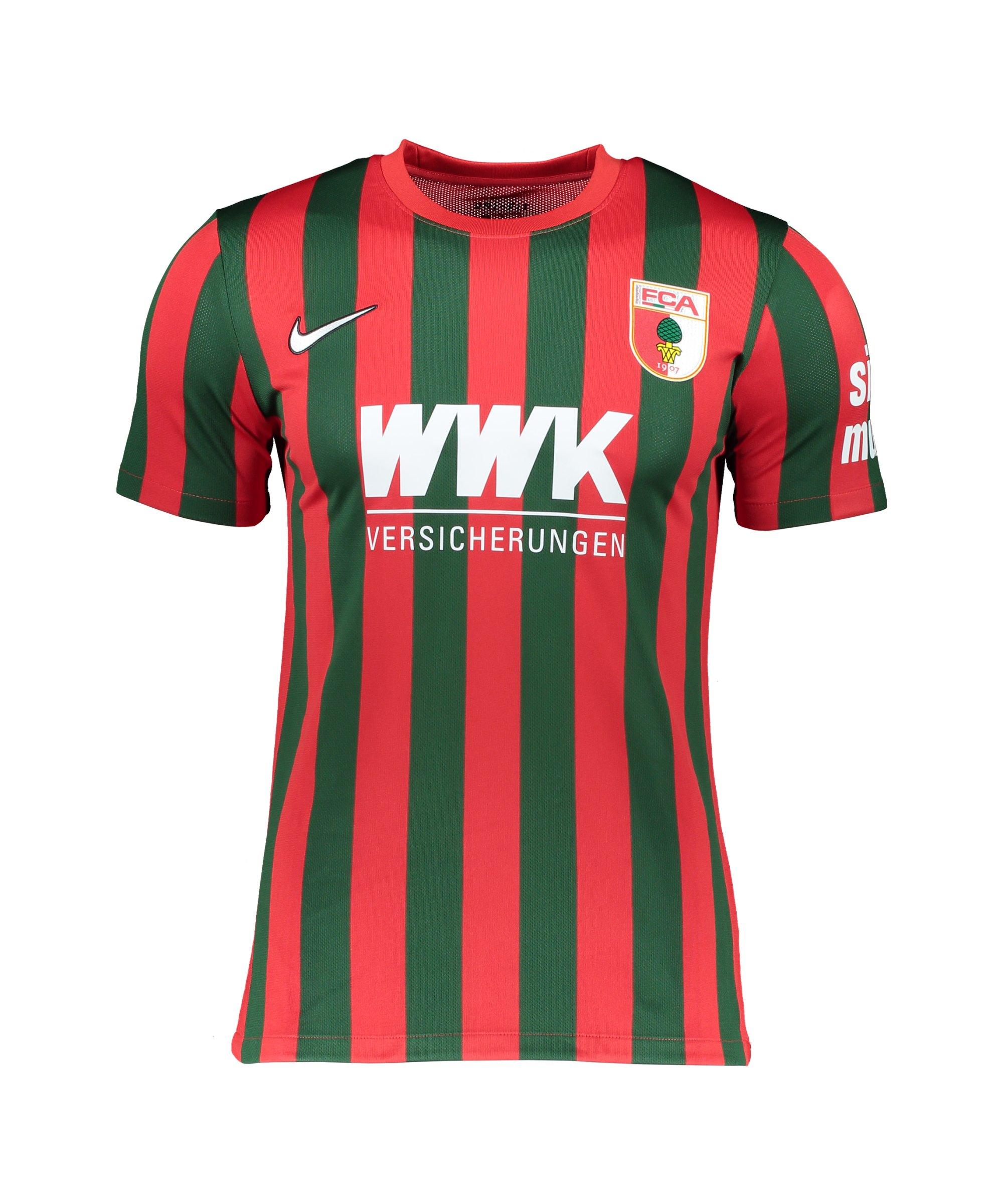 Nike FC Augsburg Trikot Home 2021/2022 Rot Grün F659 - rot