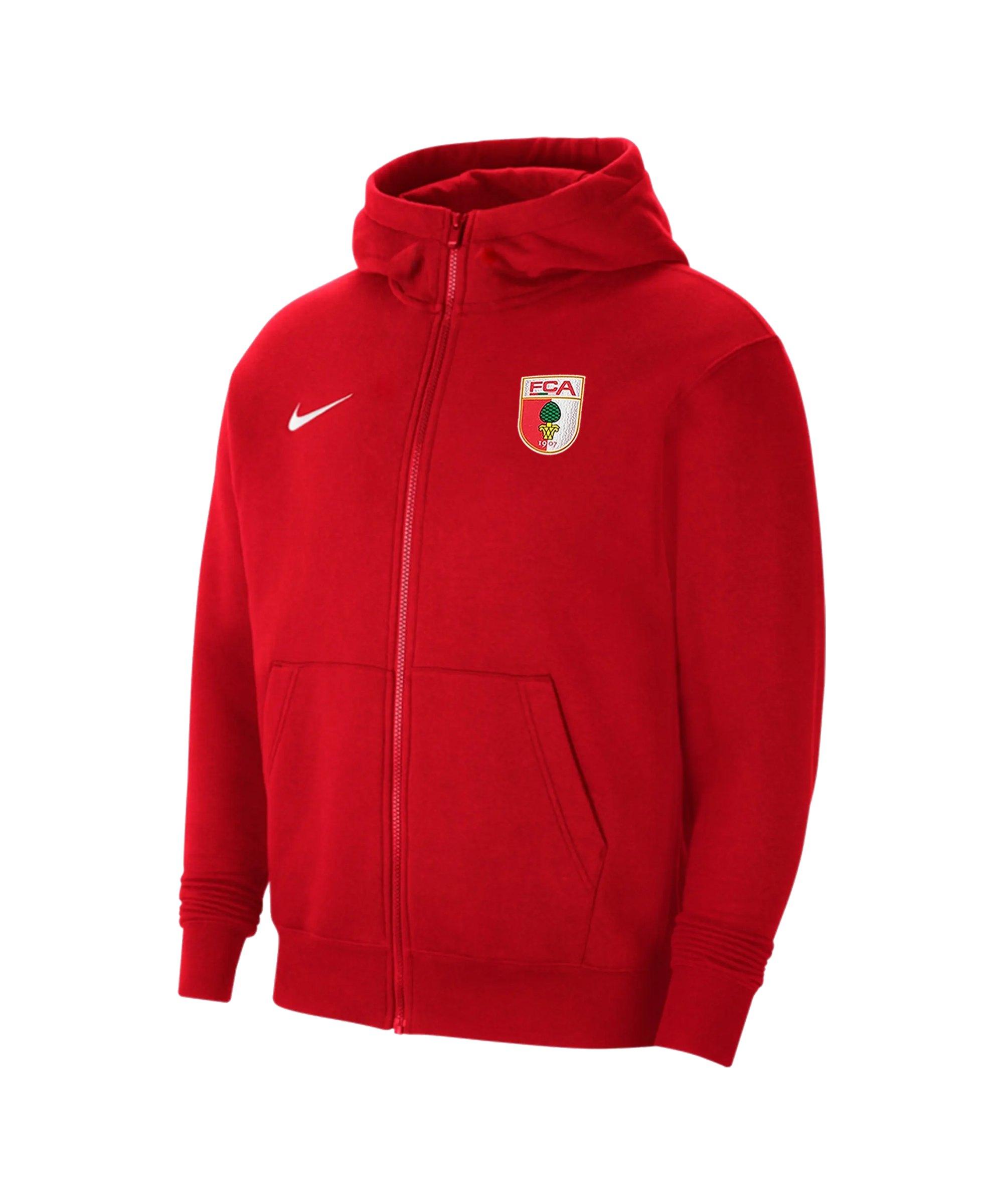 Nike FC Augsburg Fleece Kapuzenjacke Kids Rot F657 - rot