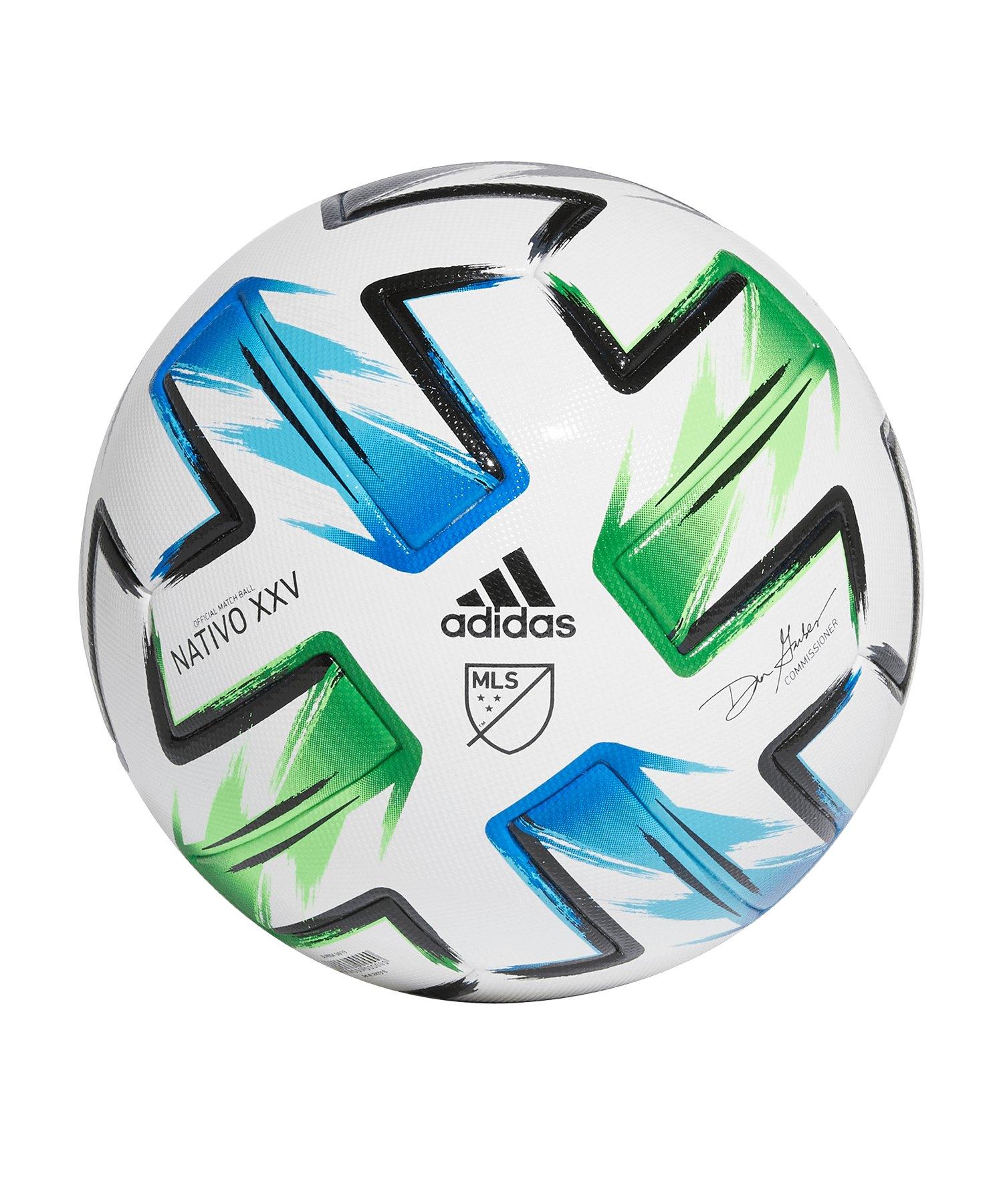 adidas MLS Pro OMB Spielball Weiss Blau Grün - weiss