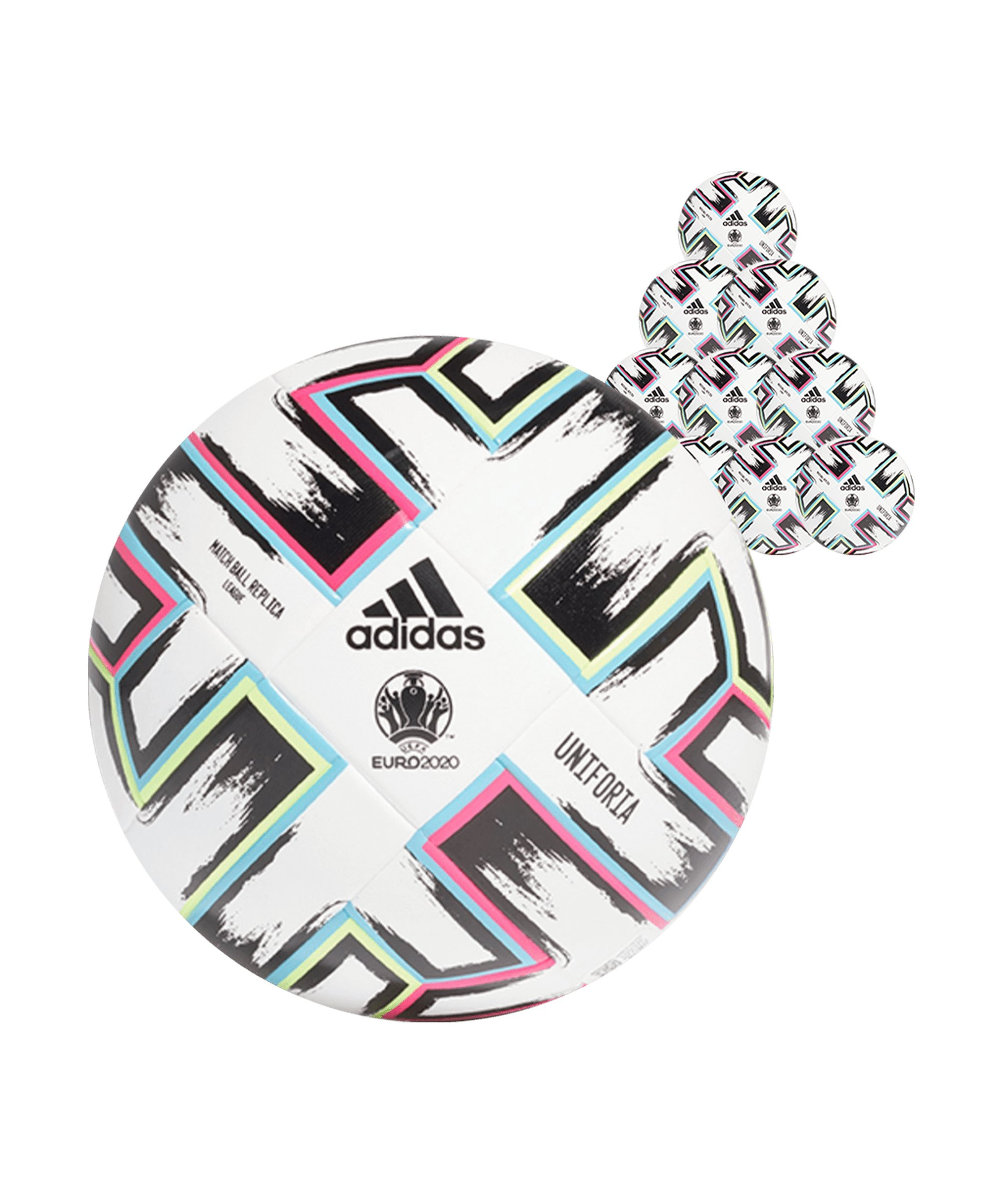 adidas LGE Uniforia Trainingsball 10x Gr. 5 Weiss - weiss