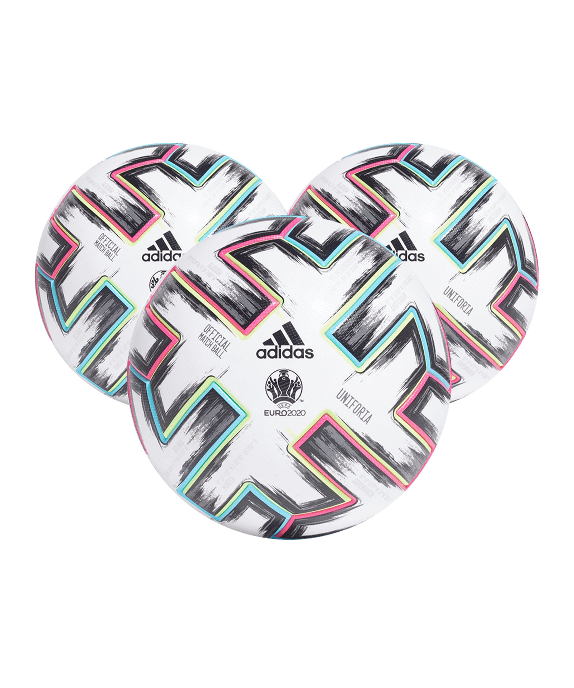 adidas PRO Uniforia EM 2020 Spielball 3x Gr.5 - weiss
