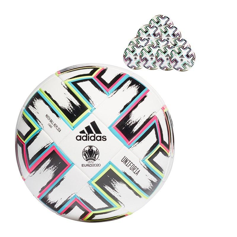 adidas Uniforia EM 2020 Trainingsball 20x Gr.5 Replik Weiss - weiss
