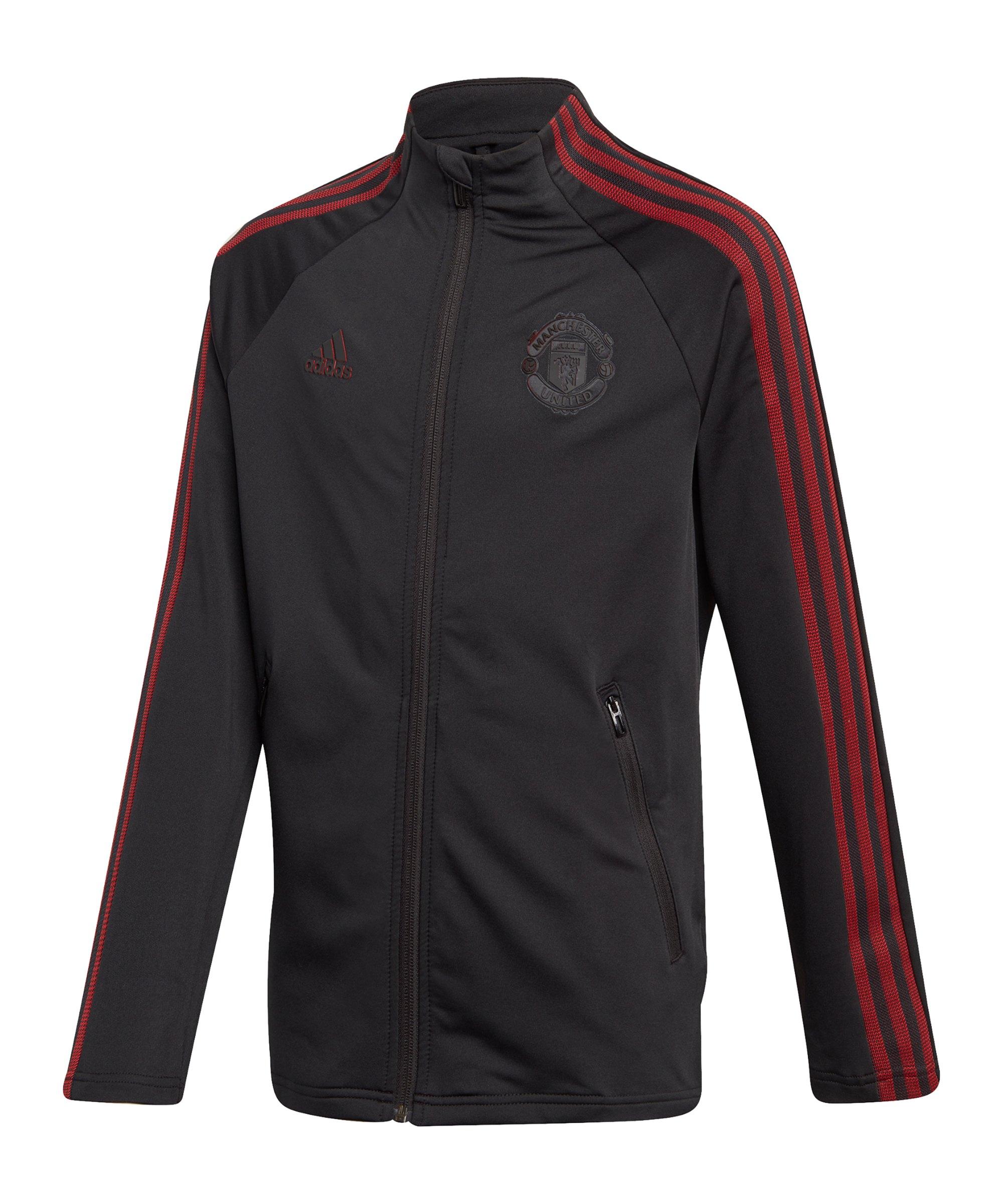 adidas Manchester United Anthem Jacke Kids Schwarz - schwarz