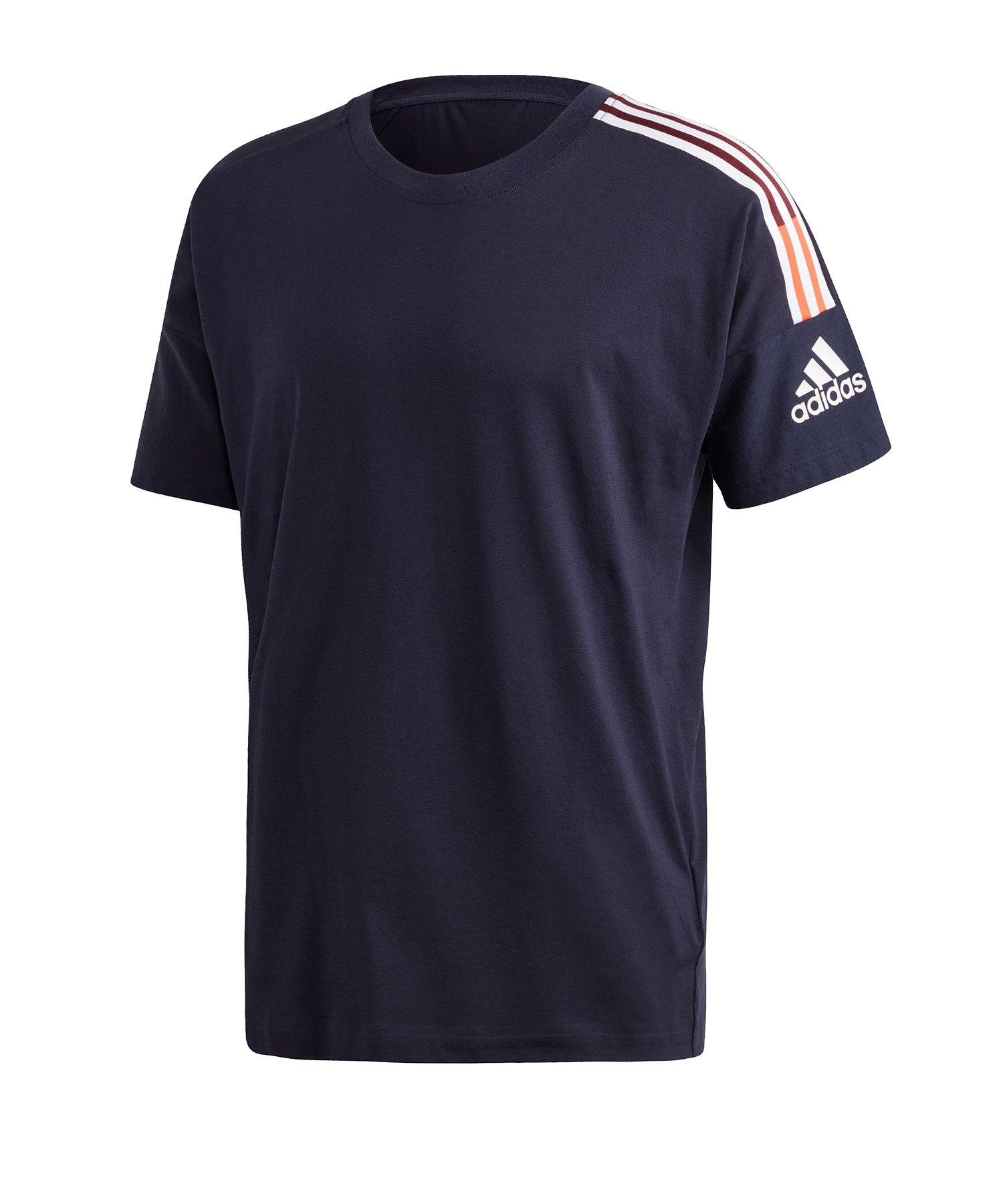 adidas ZNE 3ST T-Shirt Blau Rot - blau