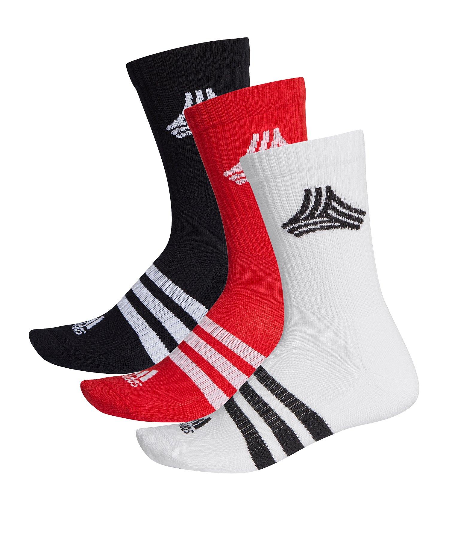 adidas FS 3S Crew Socks Socken Weiss Schwarz Rot - weiss