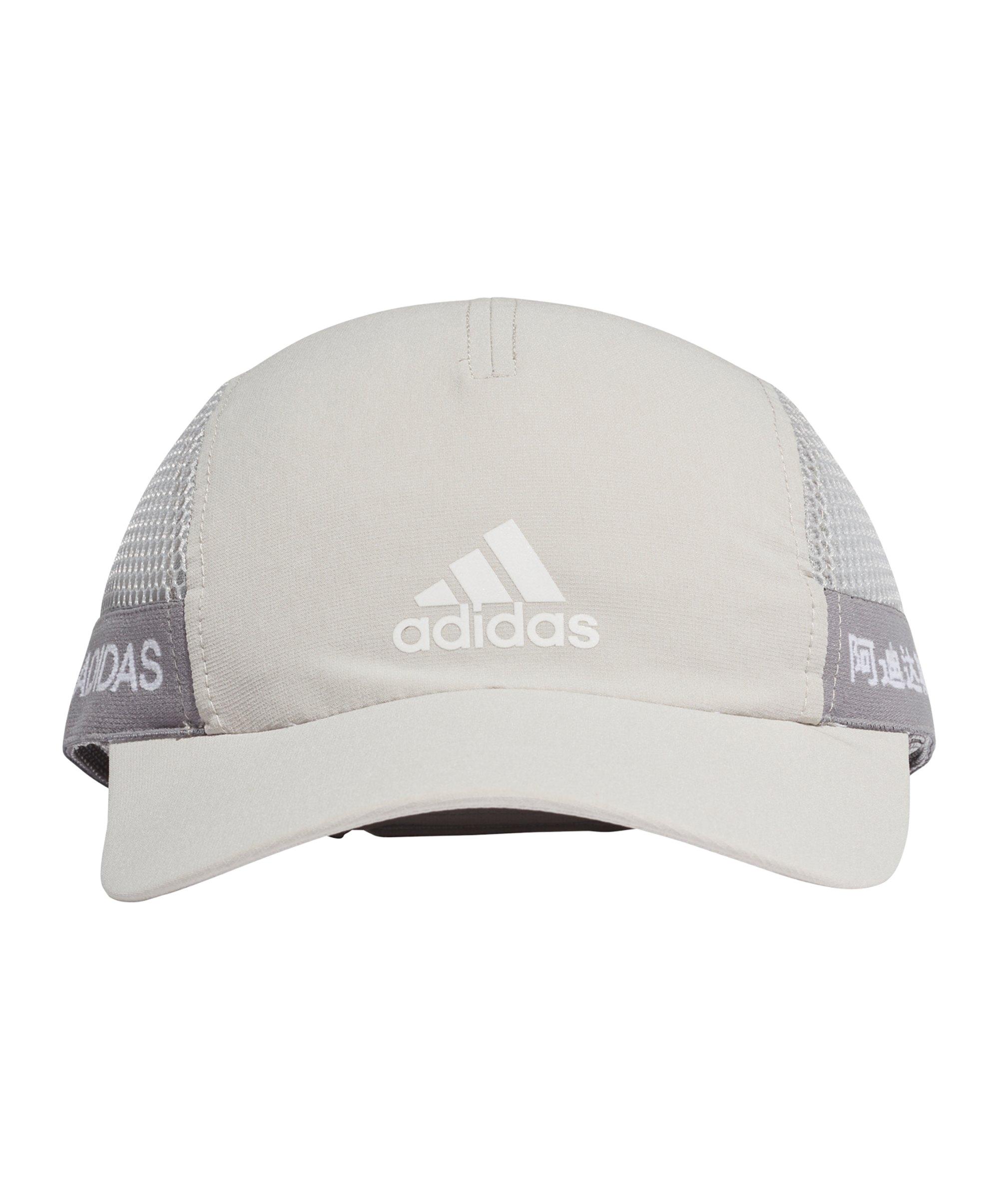 adidas Aeroready Runner Cap Grau Weiß - grau