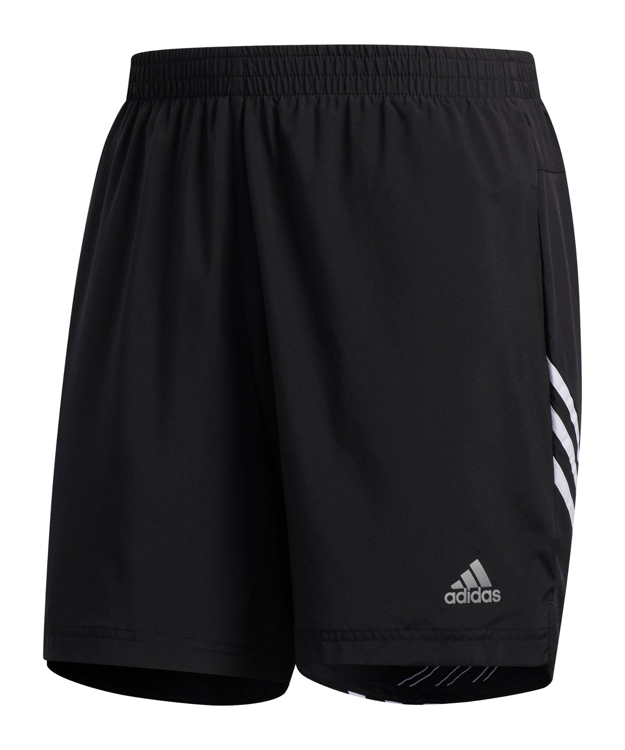 adidas Run It 3 Stripes Short Schwarz Weiss - schwarz