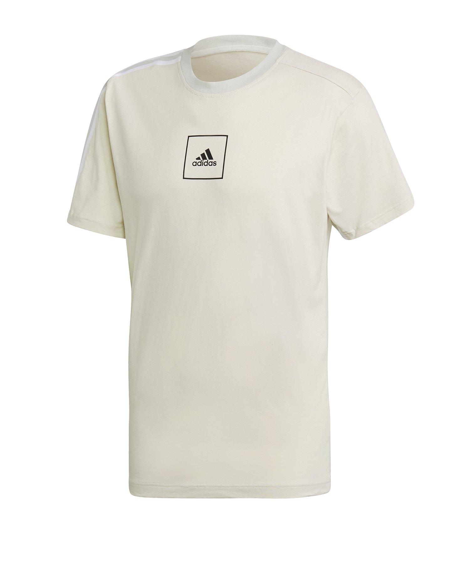 adidas Tape 3 Stripes Tee T-Shirt Grau - grau
