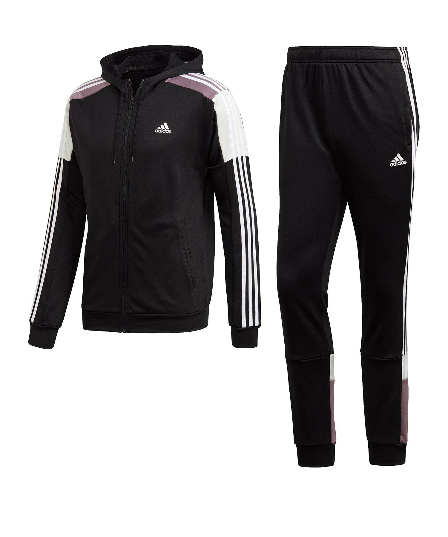 adidas MTS Sport Trainingsanzug Schwarz Weiss - schwarz