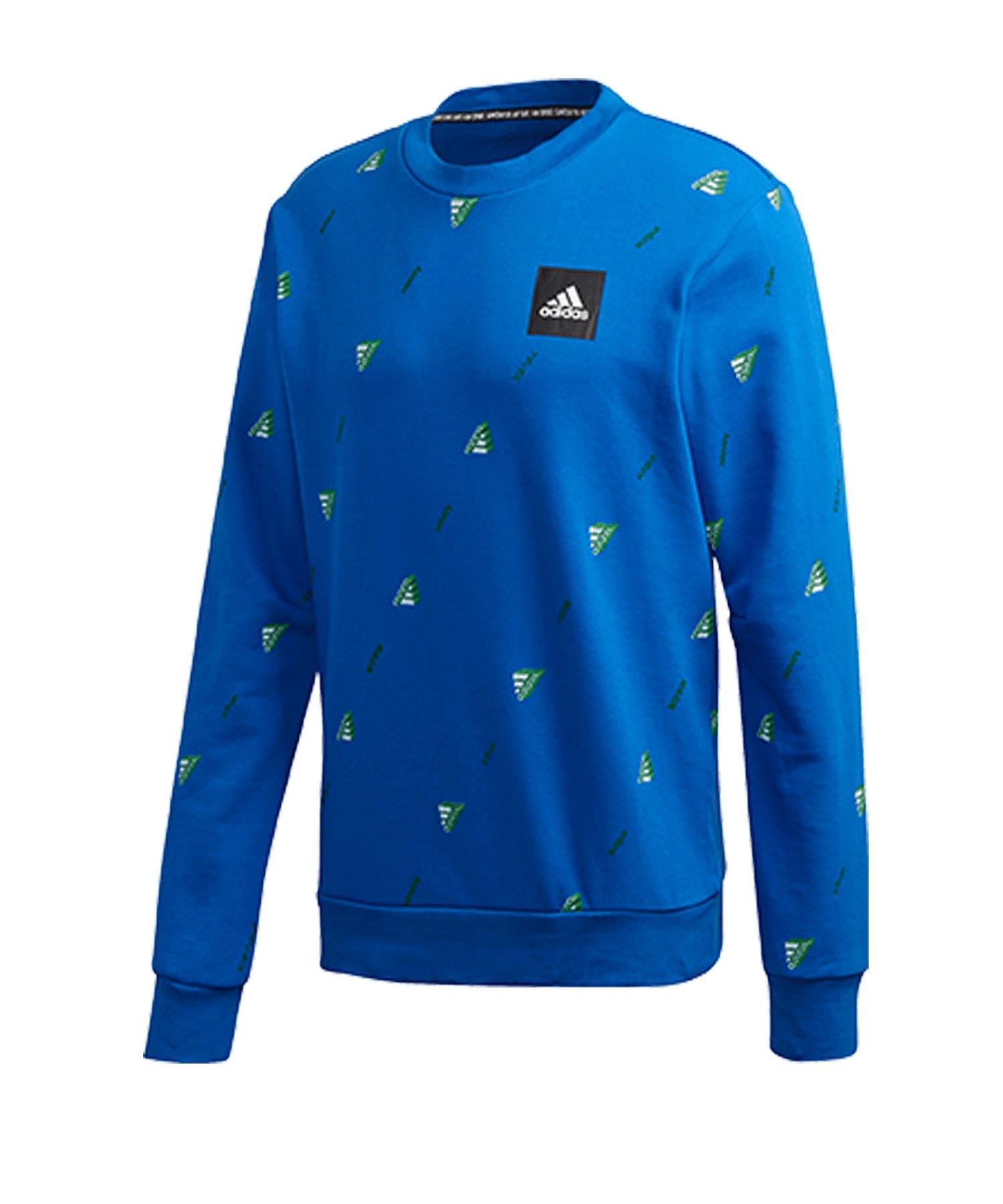 adidas Crew GFX Sweatshirt Blau Weiss - blau