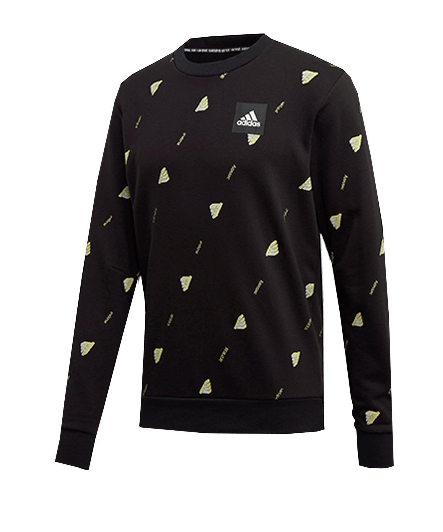 adidas Crew GFX Sweatshirt Schwarz Weiss - schwarz