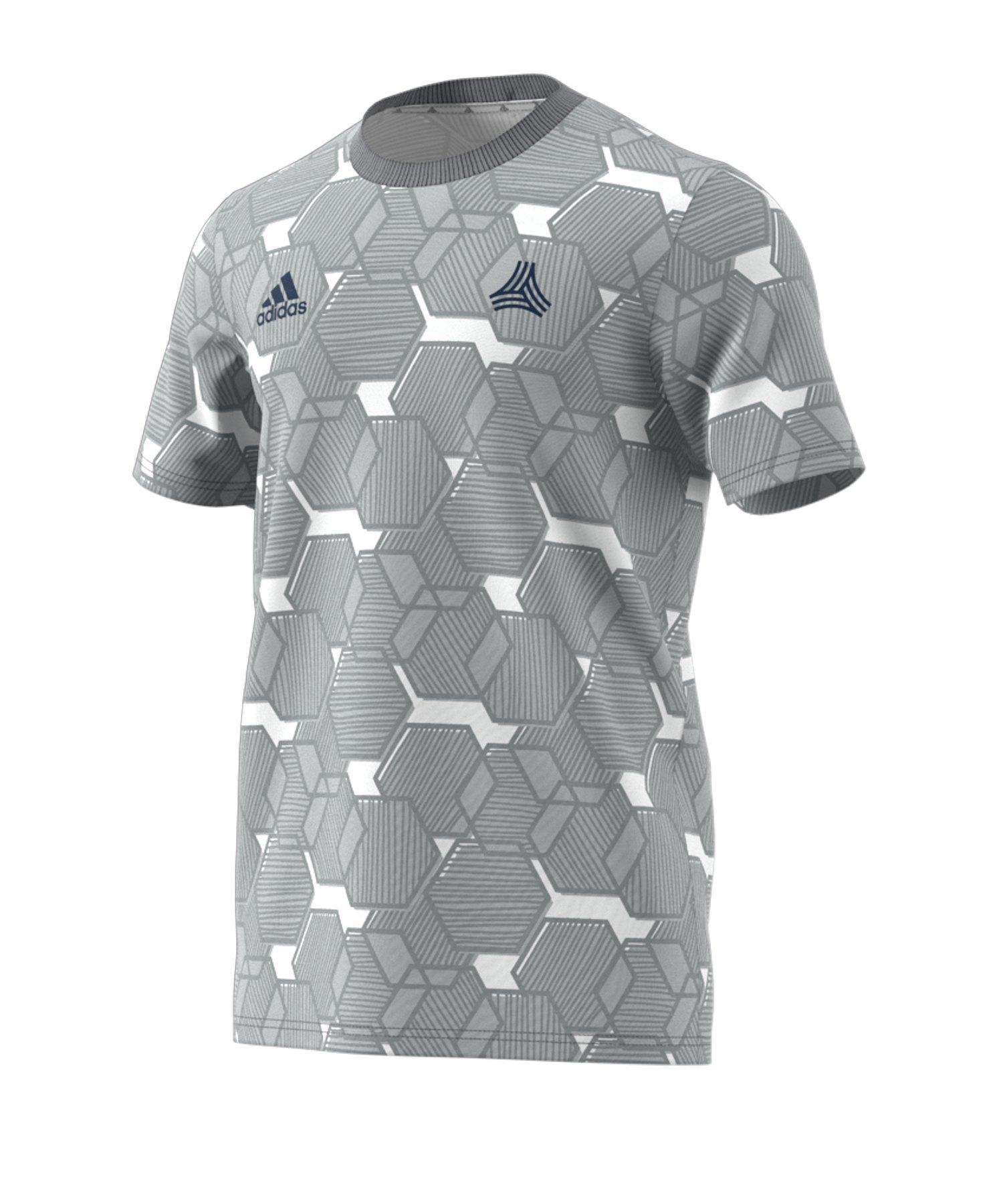 adidas Tango AOP T-Shirt Grau Weiss - grau