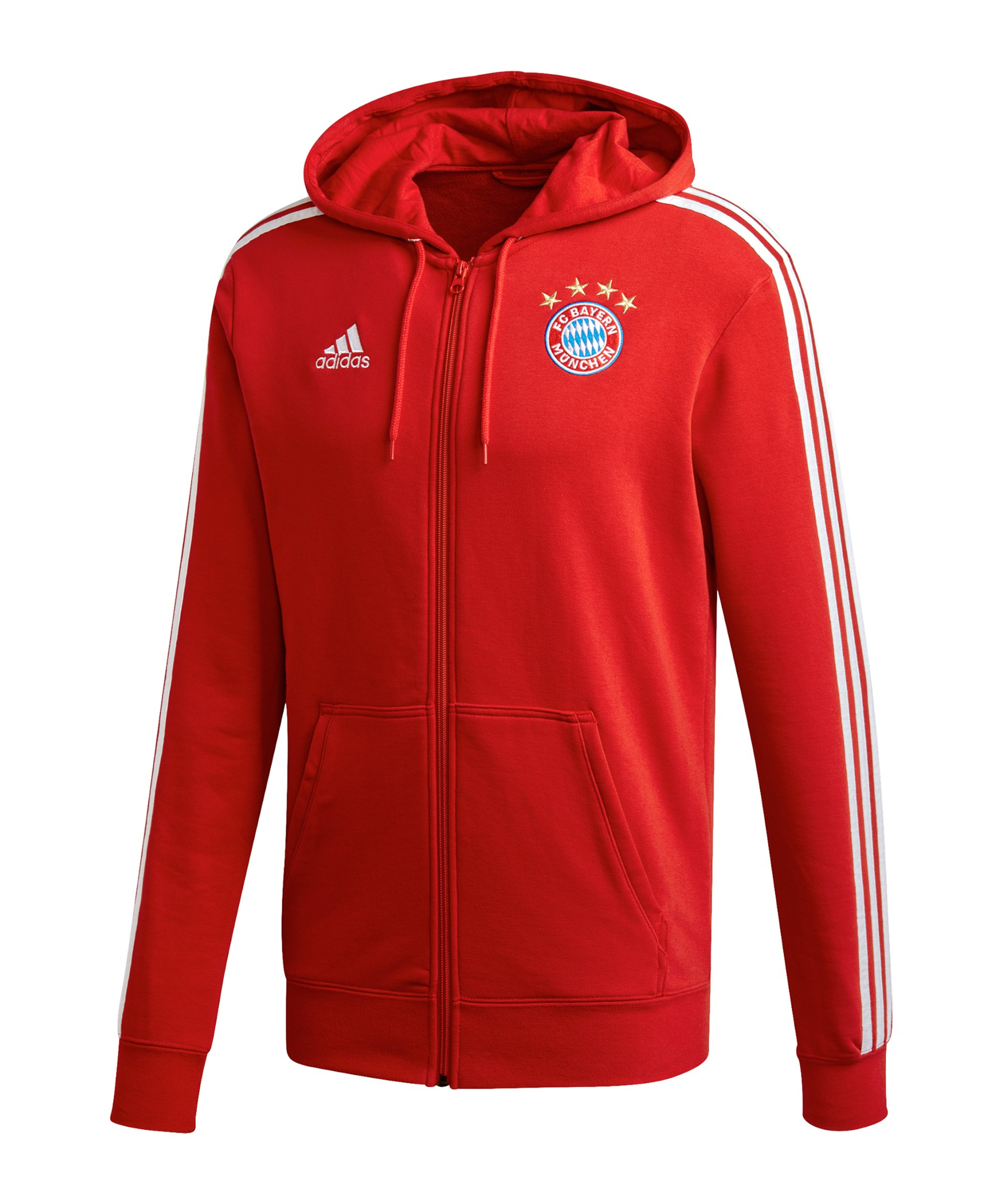 adidas FC Bayern München 3S Kapuzenjacke Rot - rot