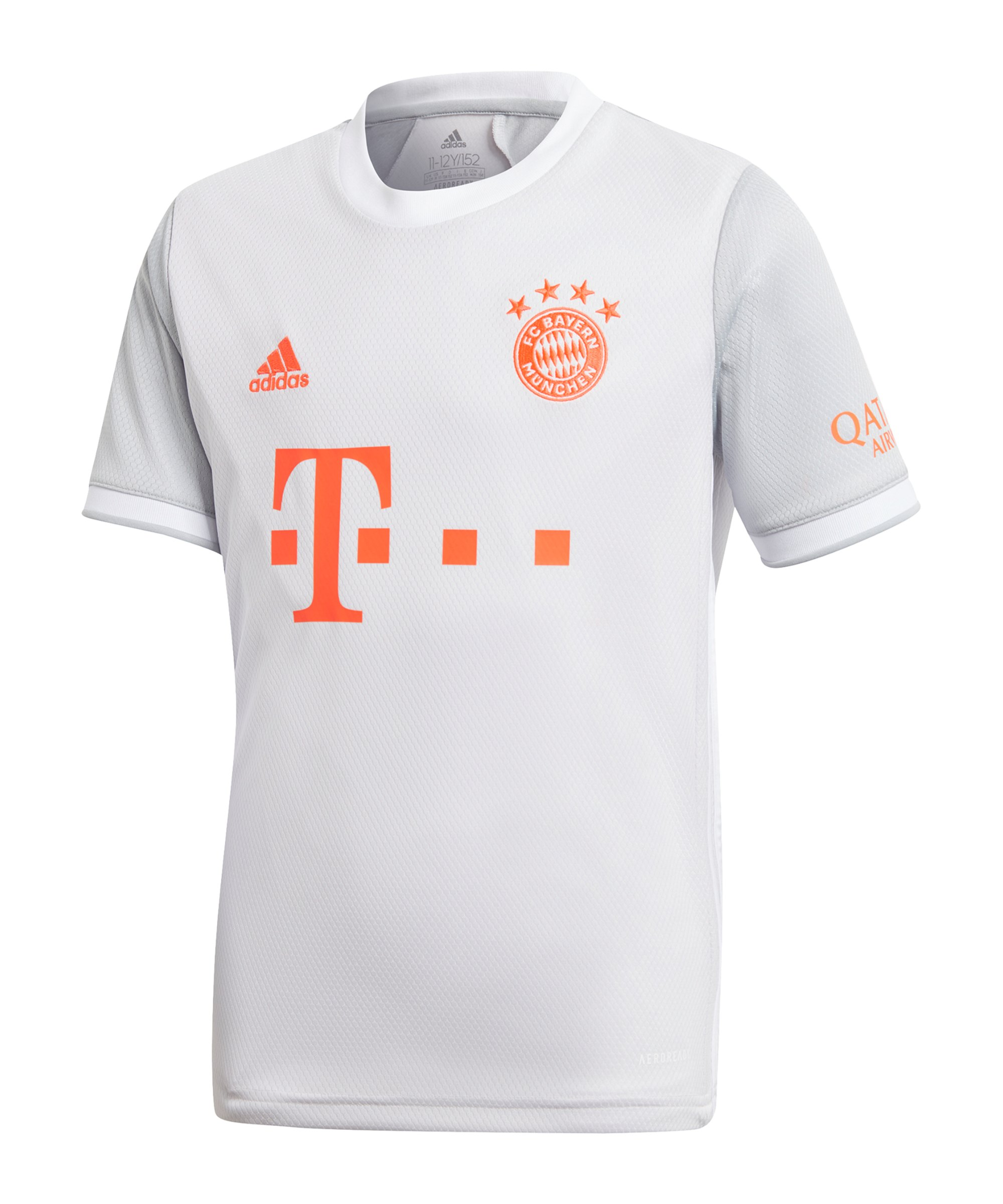 adidas FC Bayern München Trikot Away 2020/2021 Kids Weiss - grau