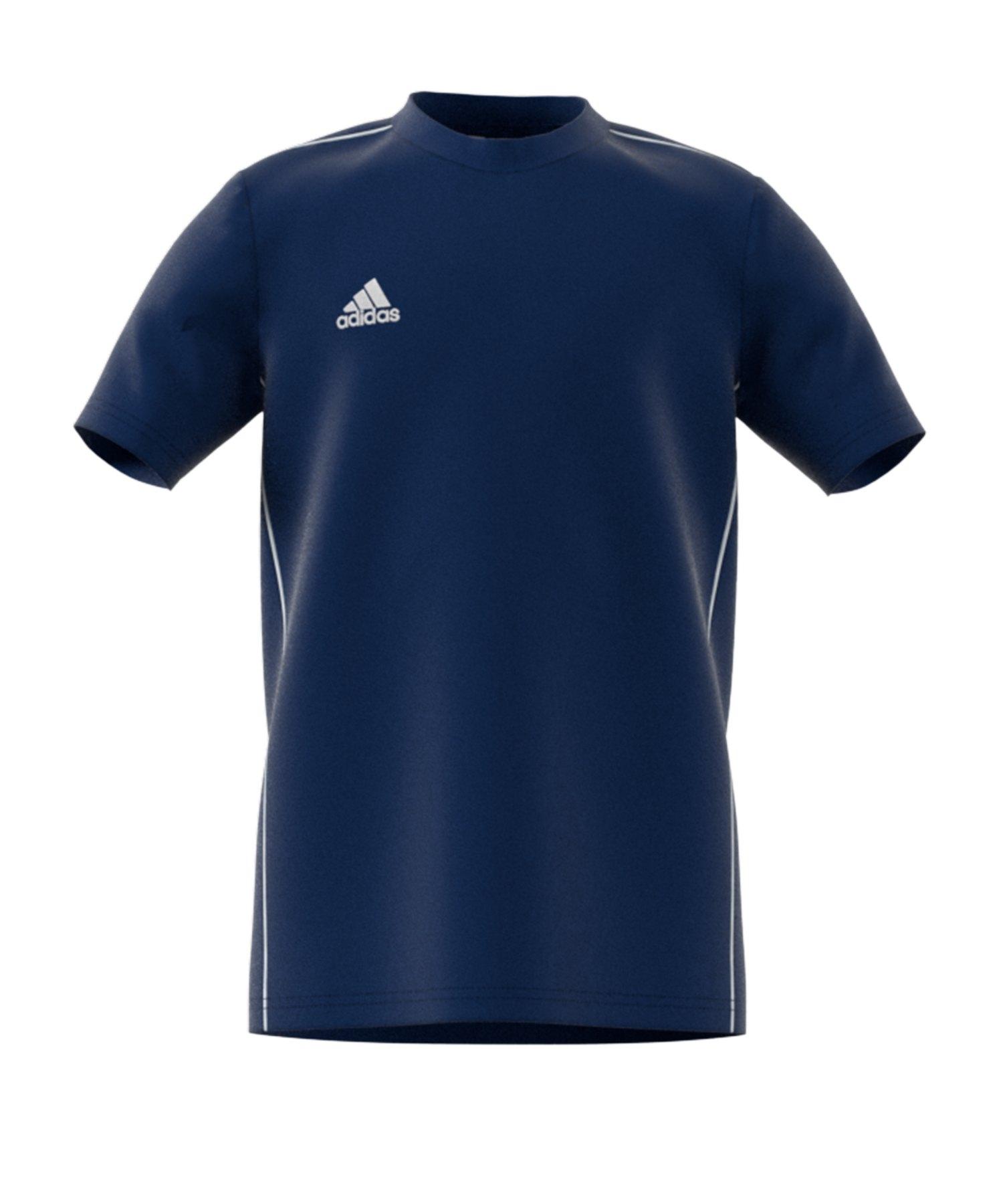 adidas Core 18 Tee T-Shirt Kids Blau Weiss - blau