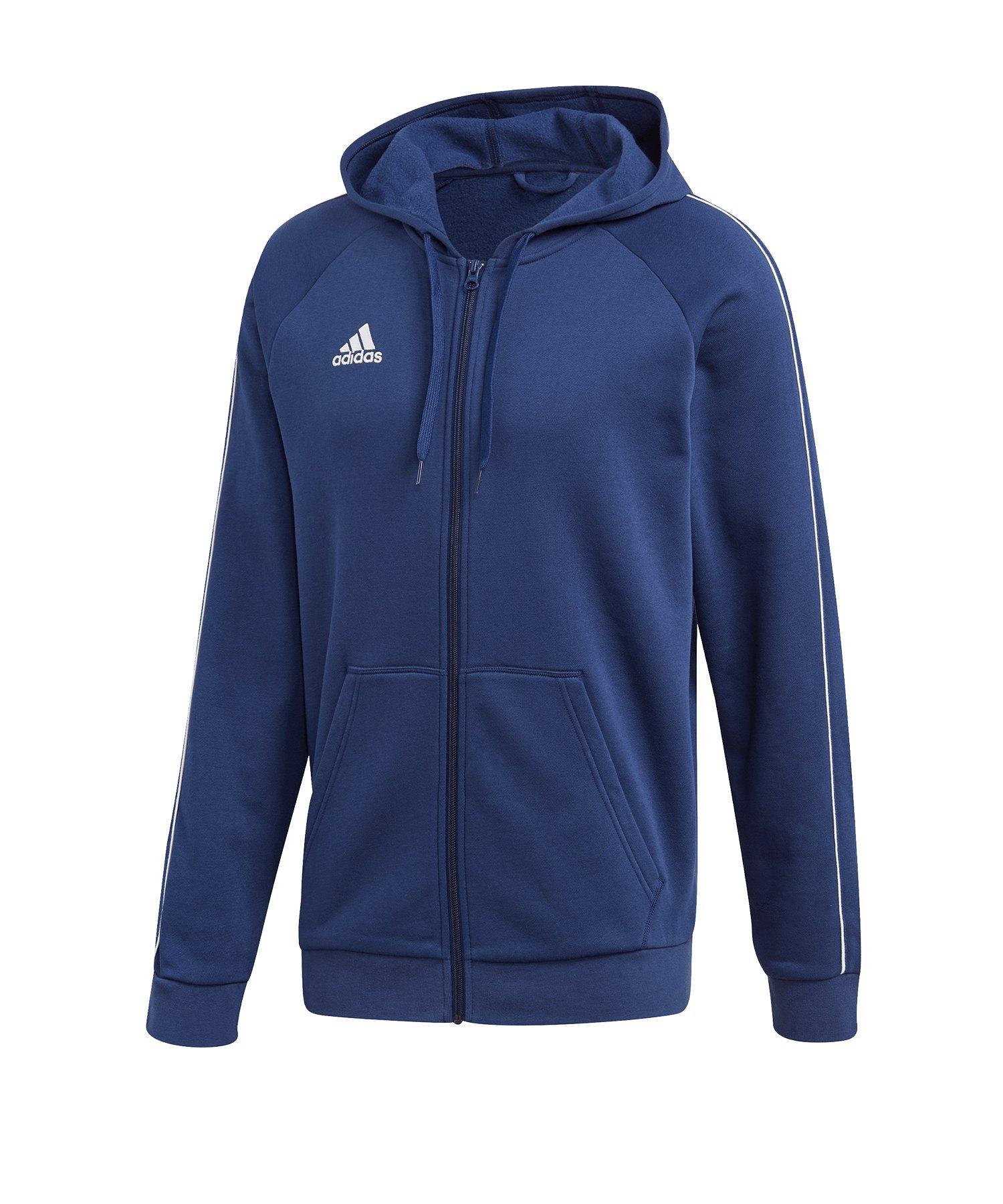 adidas Core 18 Kapuzenjacke Blau Weiss - blau