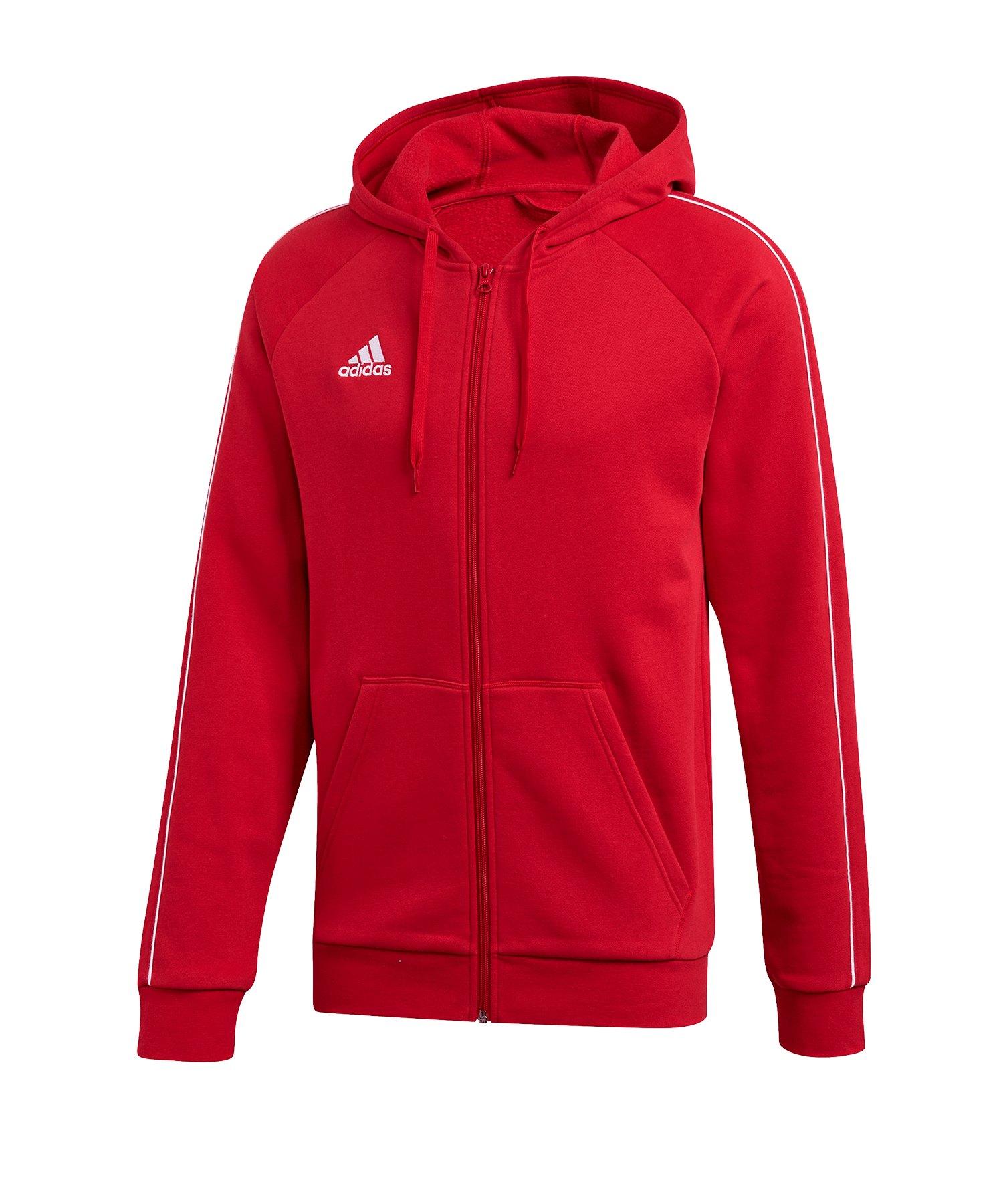 adidas Core 18 Kapuzenjacke Rot Weiss - rot