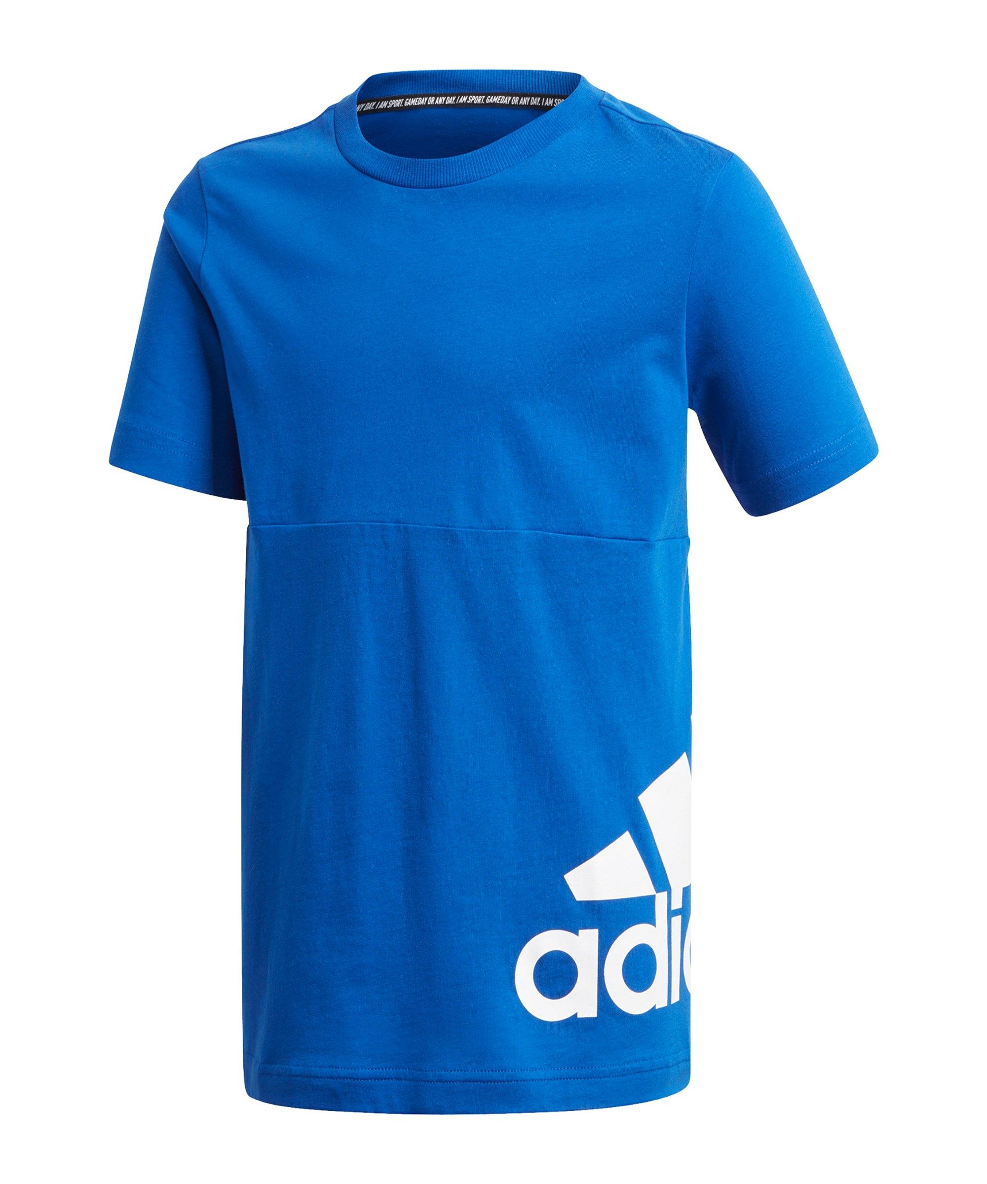 adidas Must Haves Big Logo T-Shirt Kids Blau Weiss - blau