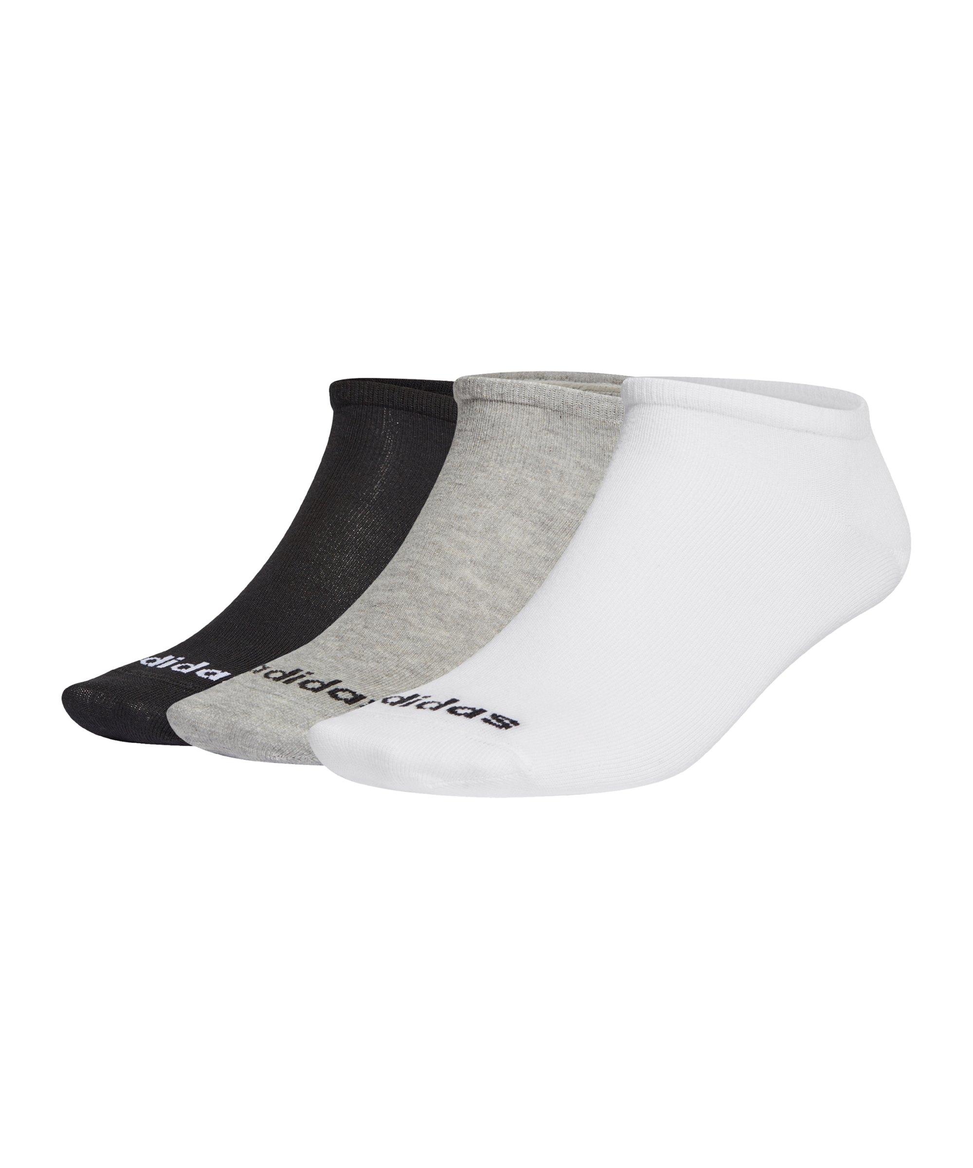 adidas Füsslinge 3er Pack Grau Weiss Schwarz - schwarz