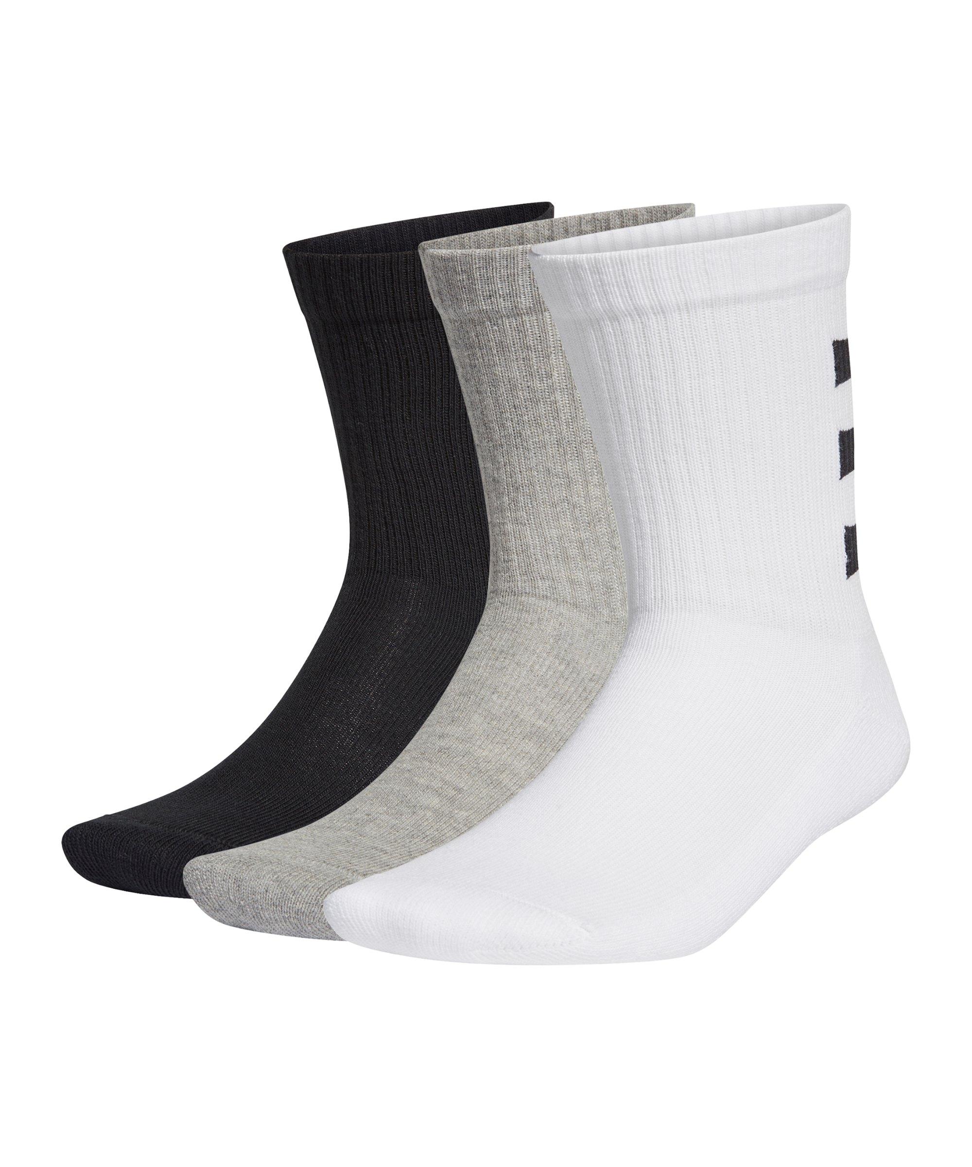 adidas 3S Ankle Socken 3er Pack Weiss Schwarz Grau - weiss