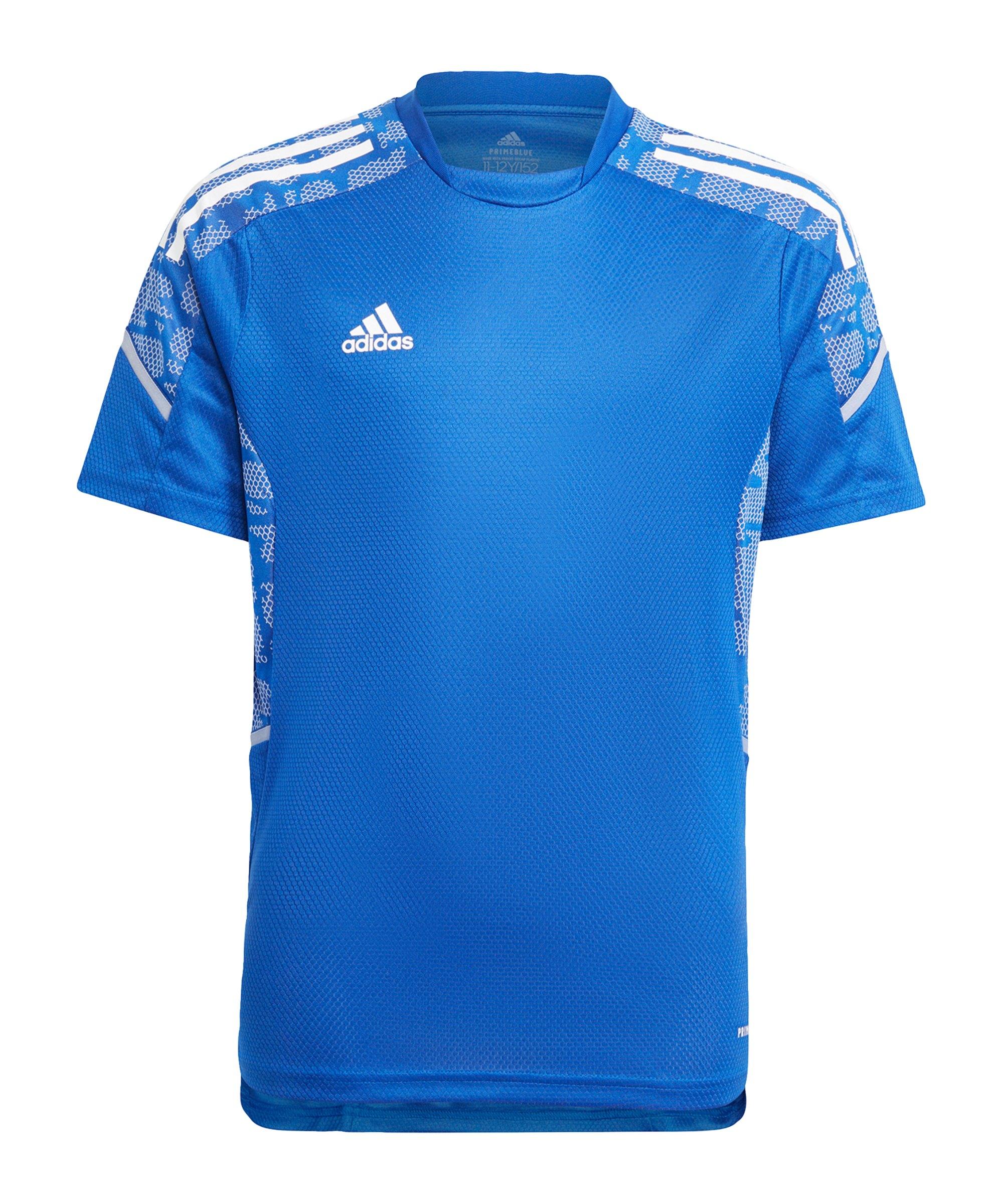 adidas Condivo 21 Trainingsshirt Kids Blau Weiss - blau