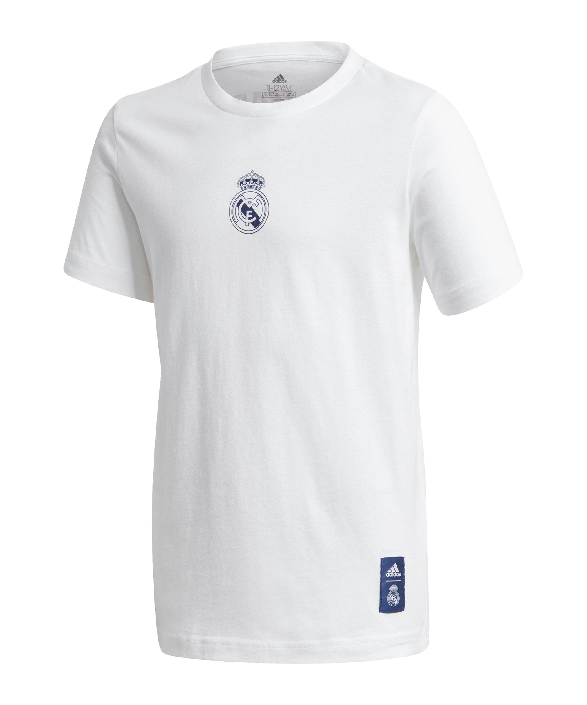 adidas Real Madrid Graphic T-Shirt Kids Weiss Blau - weiss