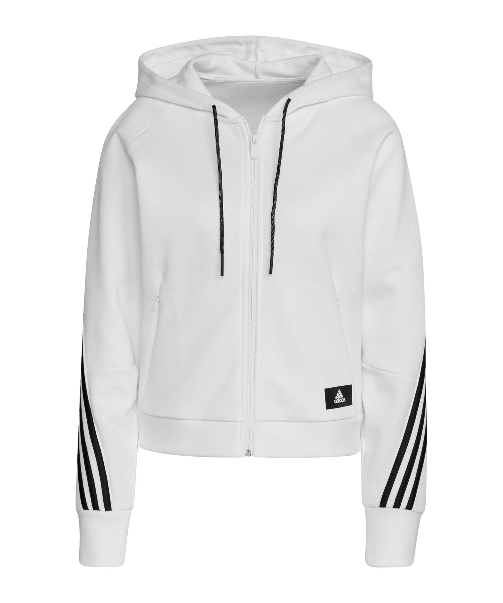 adidas Branded Icons 3 Stripes Kapuzenjacke Damen - weiss