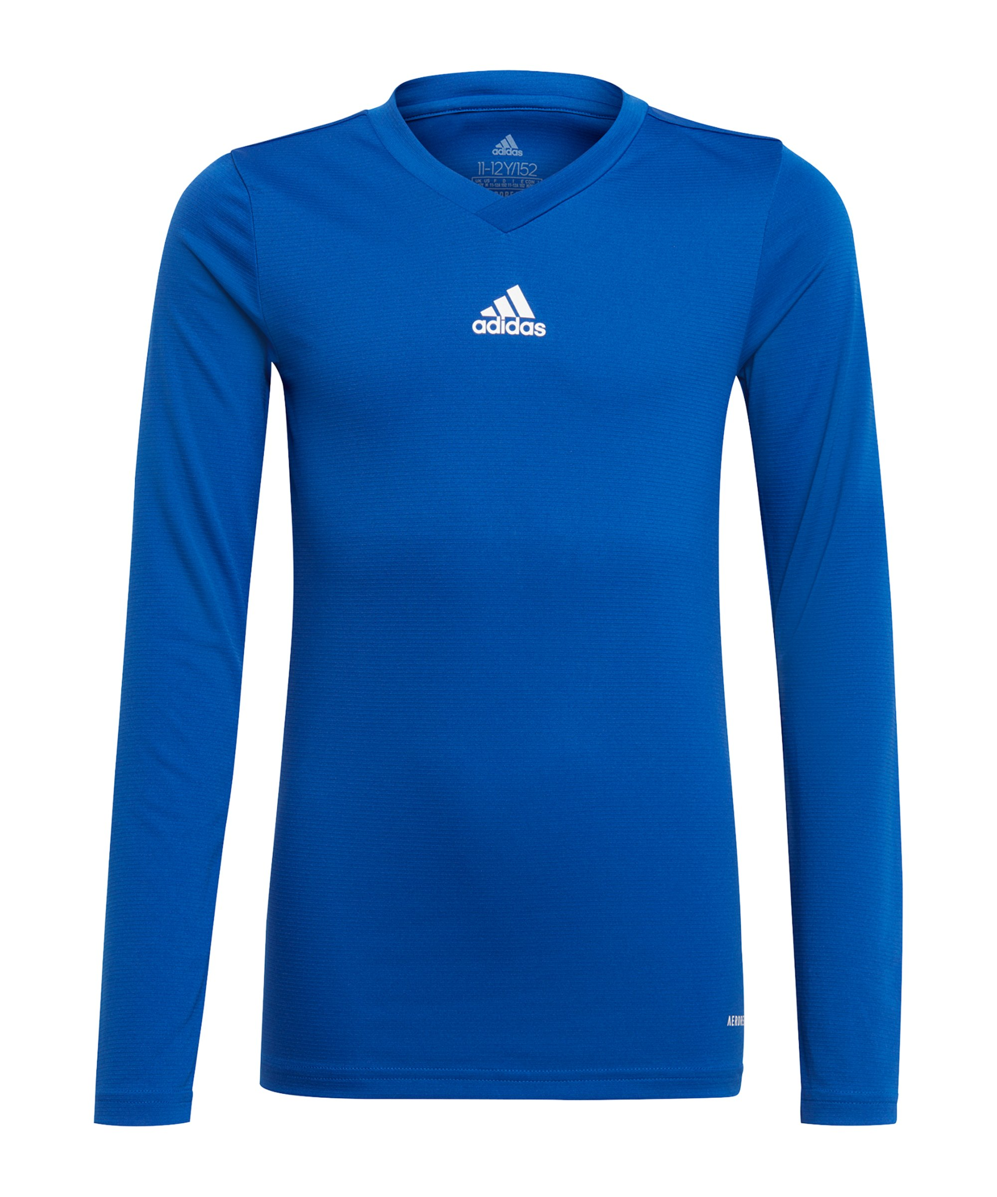 adidas Team Base Top langarm Kids Blau Weiss - blau