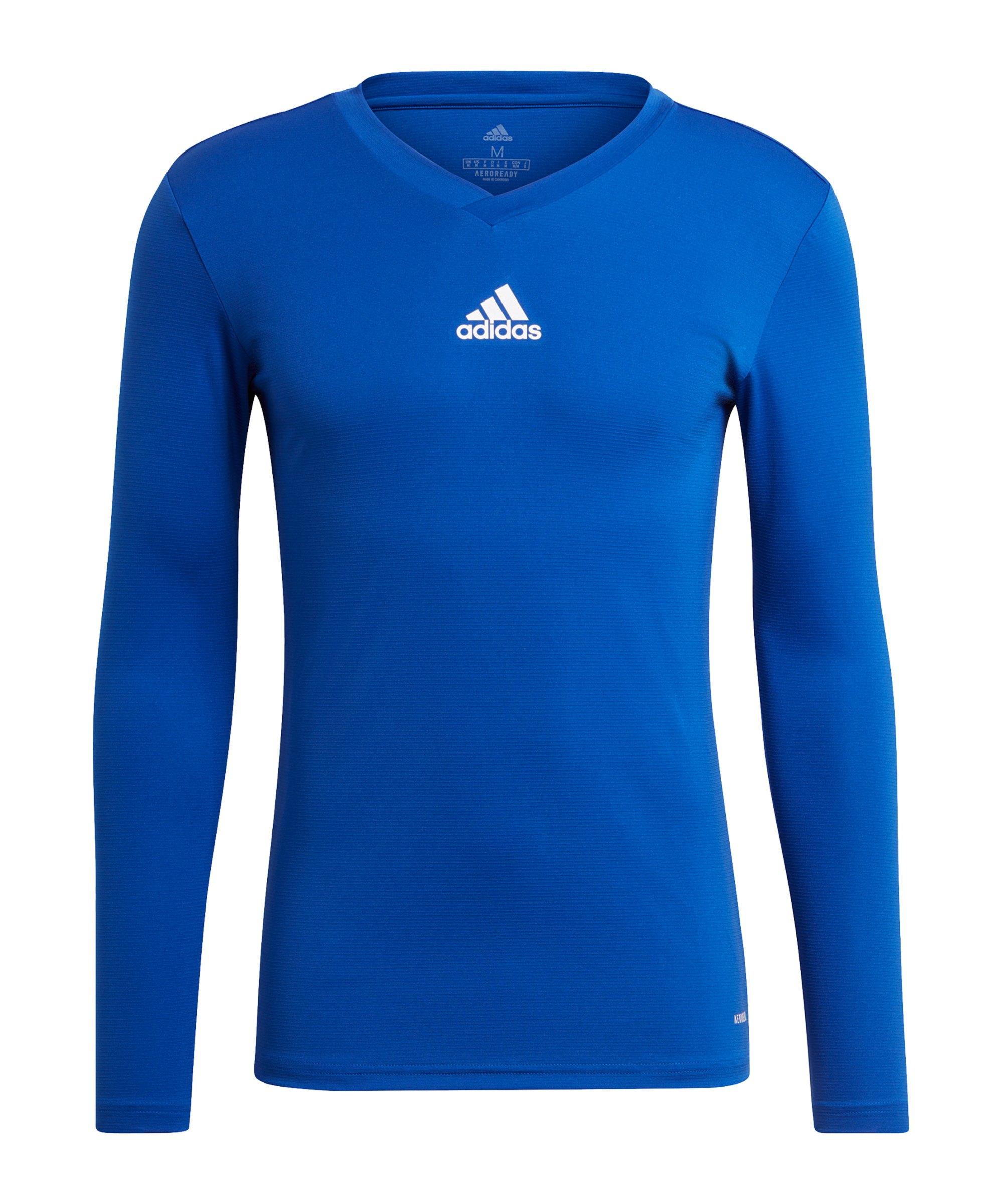 adidas Team Base Top langarm Blau Weiss - blau