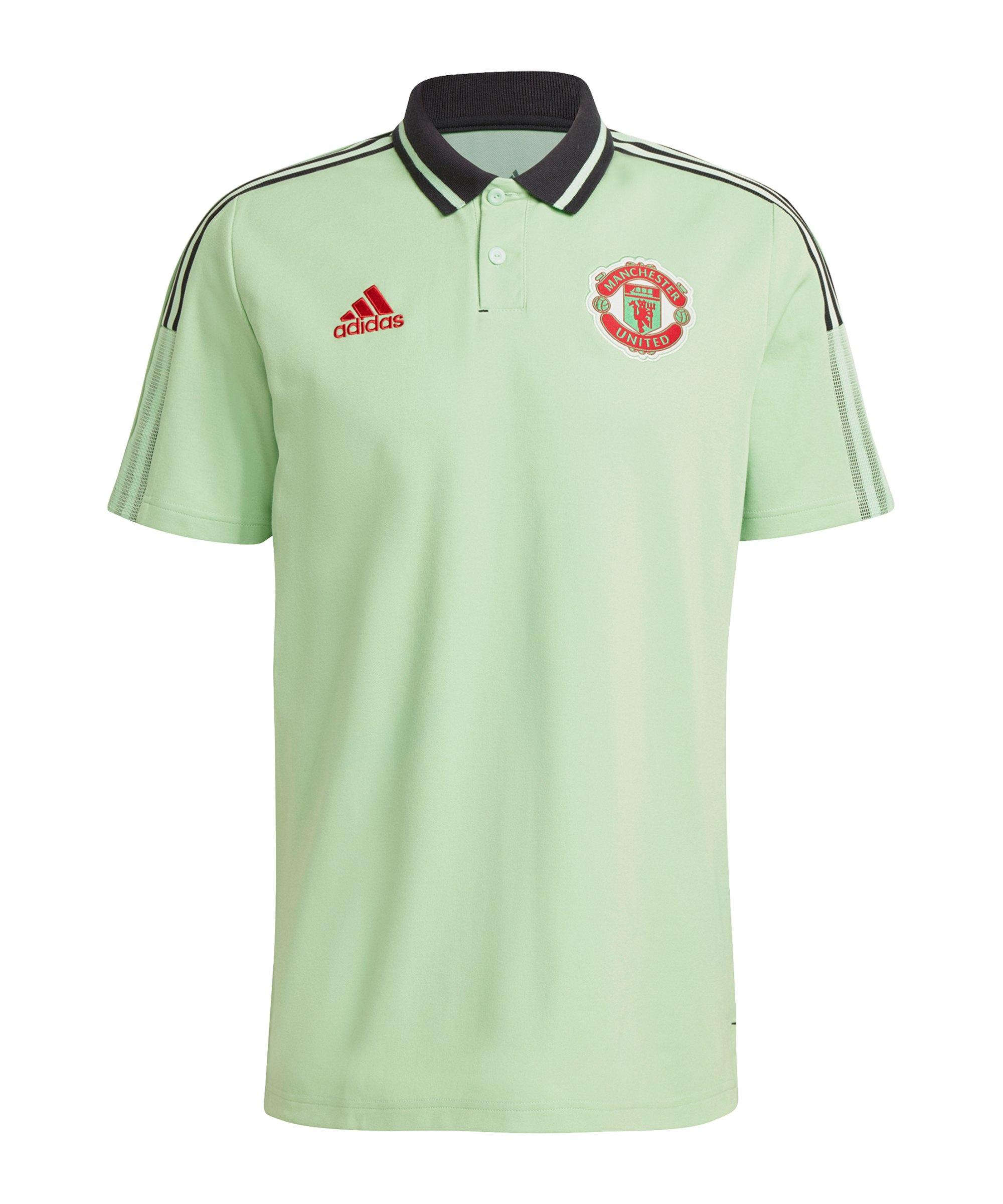 adidas Manchester United Poloshirt Hellgrün - gruen