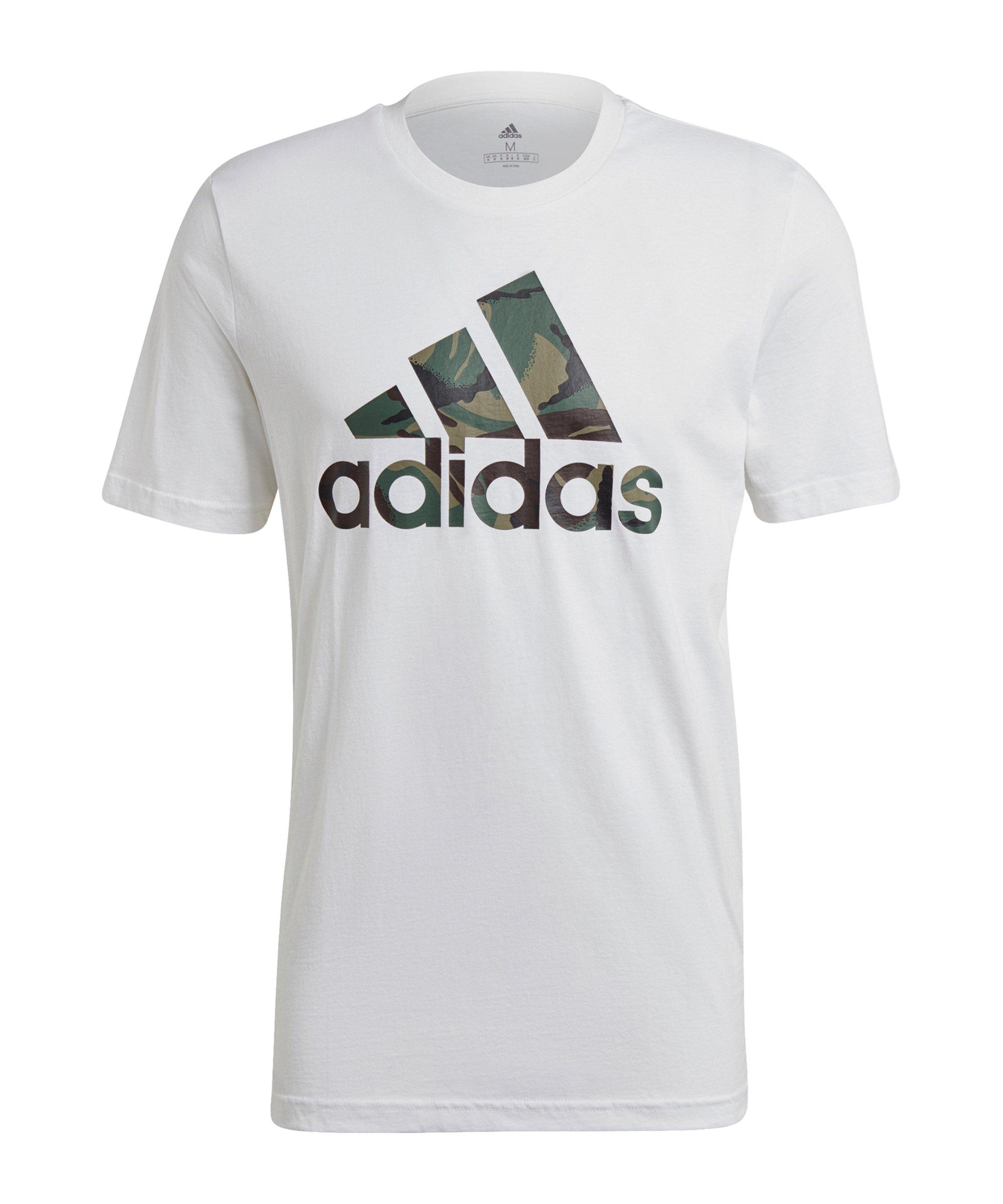 adidas Essentials T-Shirt Weiss Pink Dunkelgrün - weiss