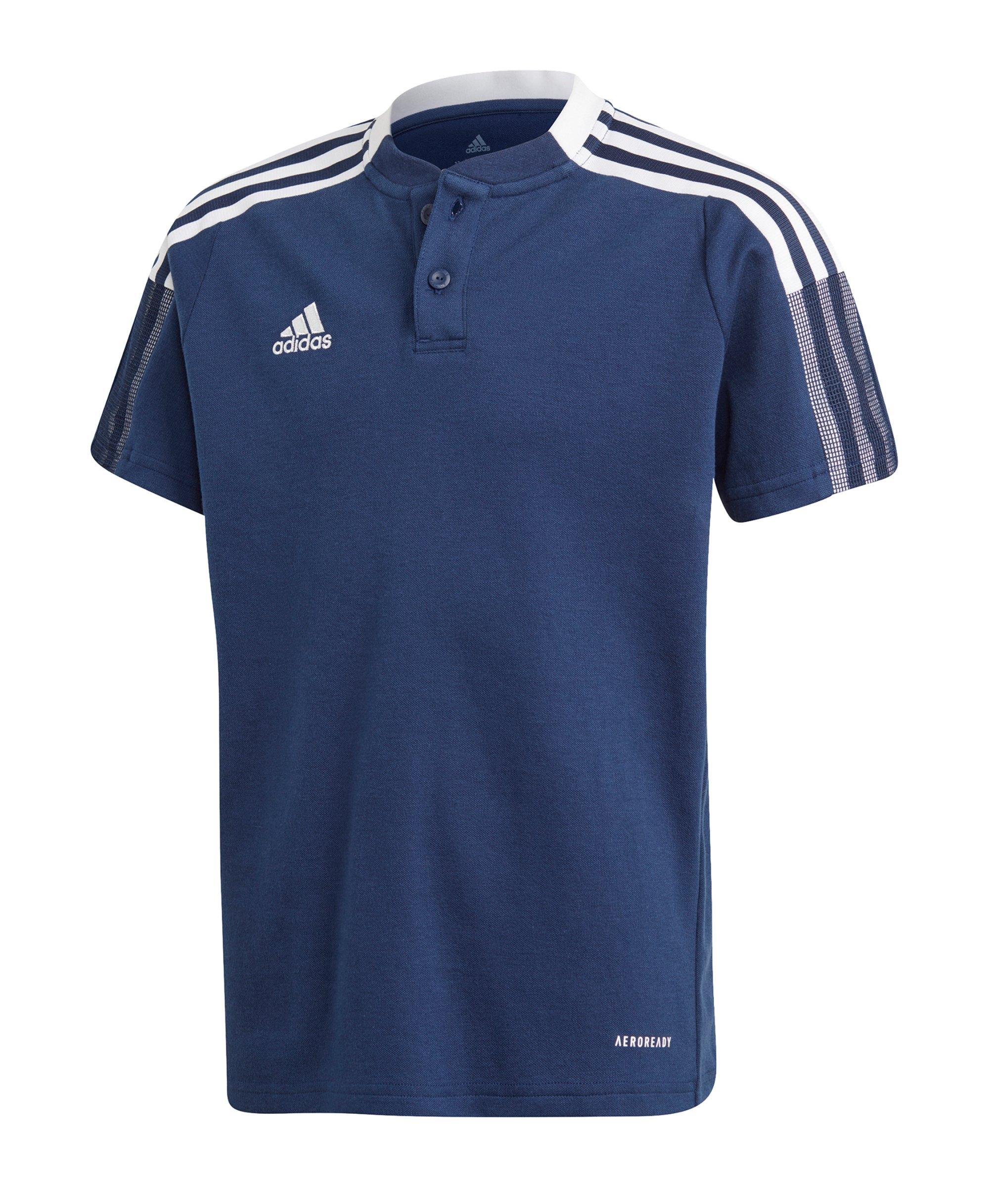 adidas Tiro 21 Poloshirt Kids Dunkelblau - blau
