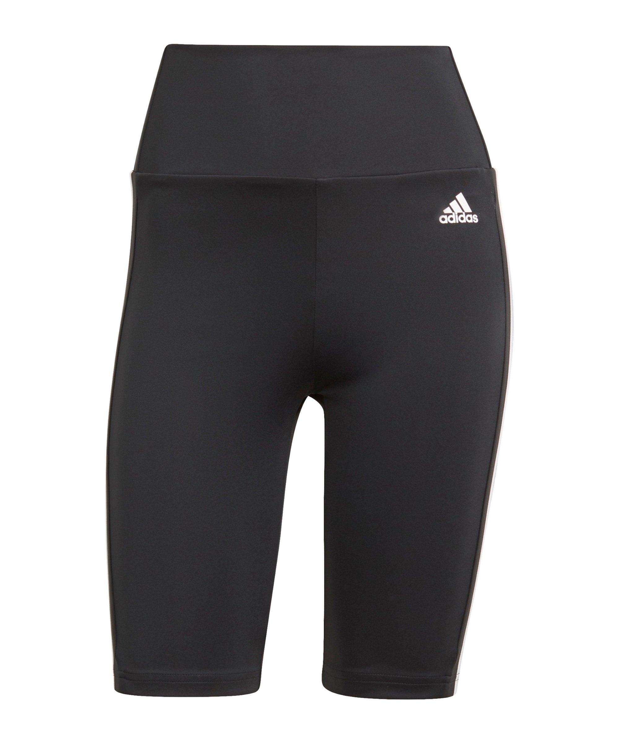 adidas 3S Short Leggings Running Schwarz Weiss - schwarz