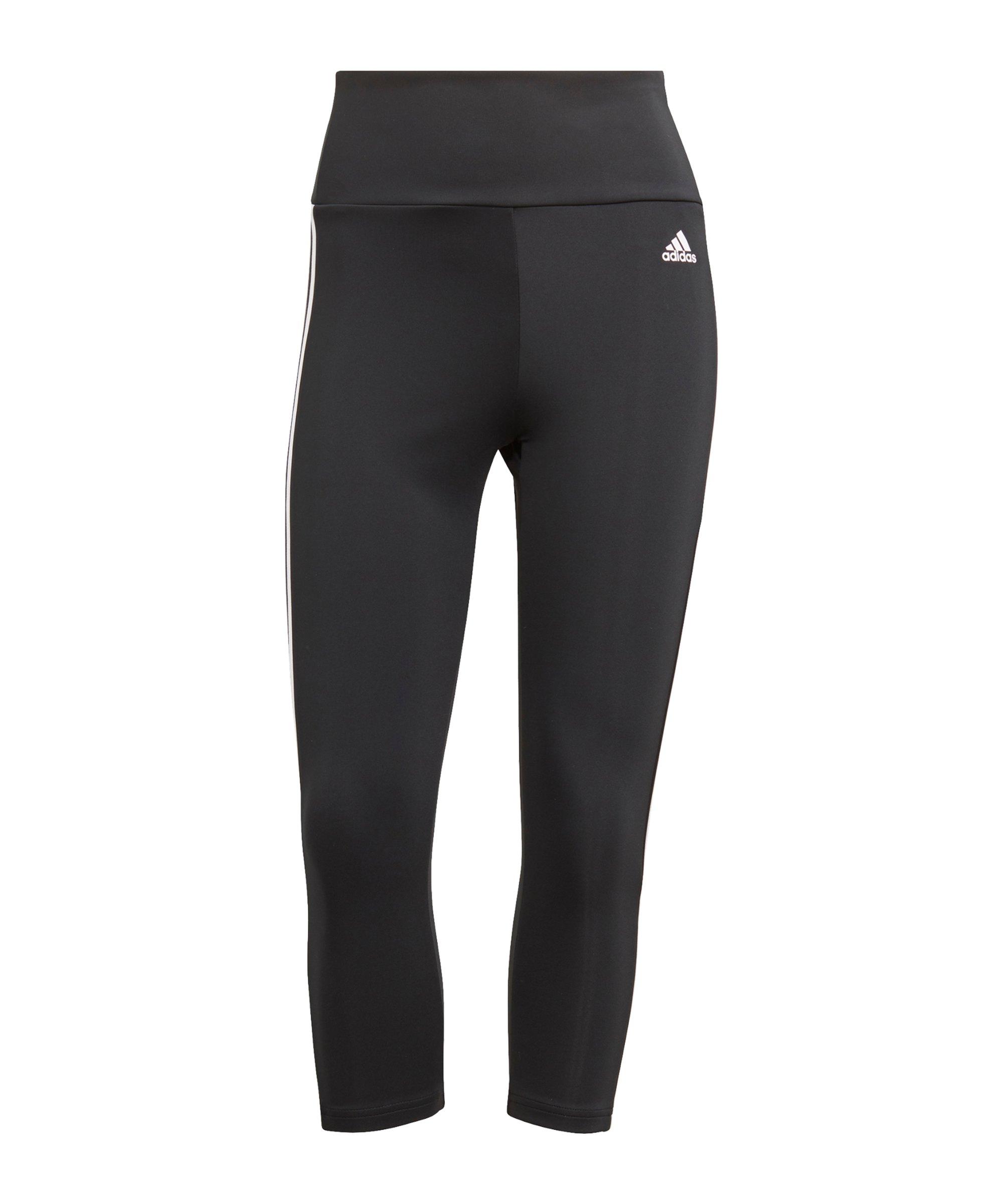 adidas 3S 3/4 Leggings Damen Running Schwarz - schwarz