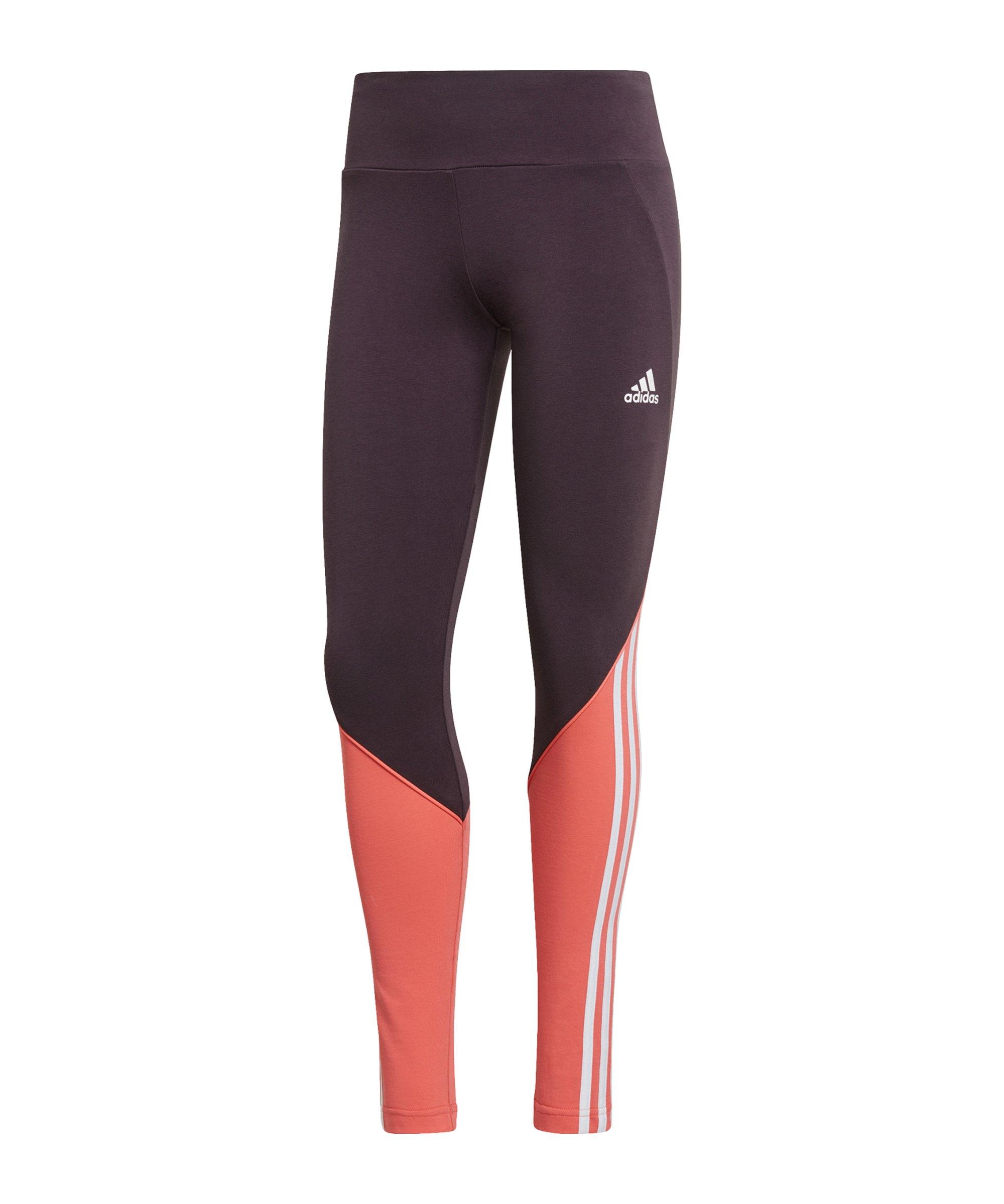 adidas Leggings Damen Schwarz Orange - schwarz