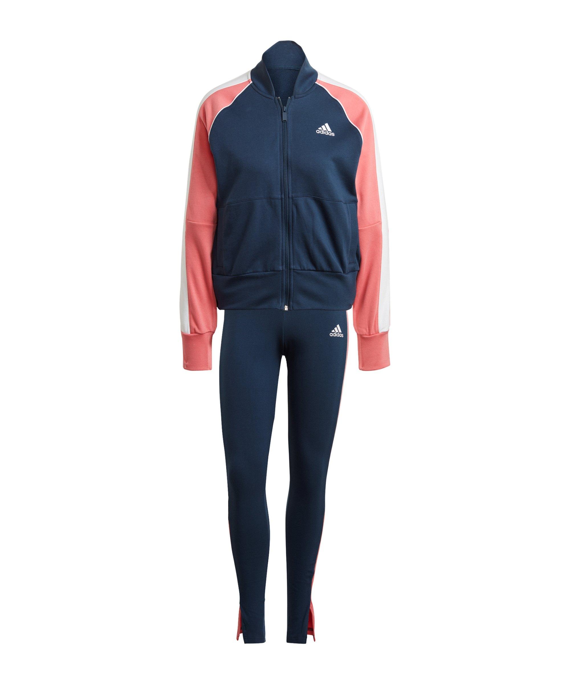 adidas Trainingsanzug Damen Blau Rosa - blau