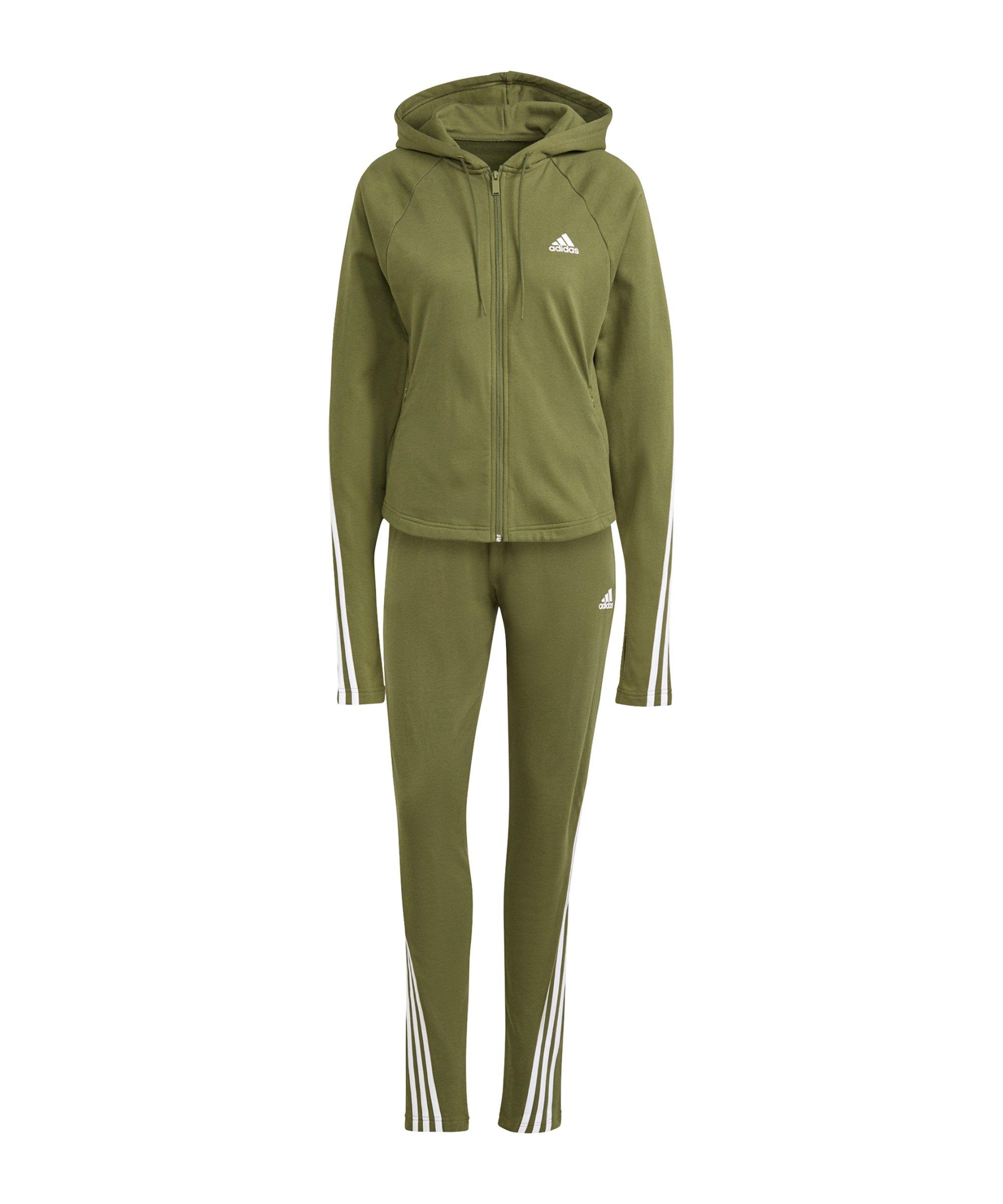 adidas Slim Fit Trainingsanzug Damen Grün - gruen
