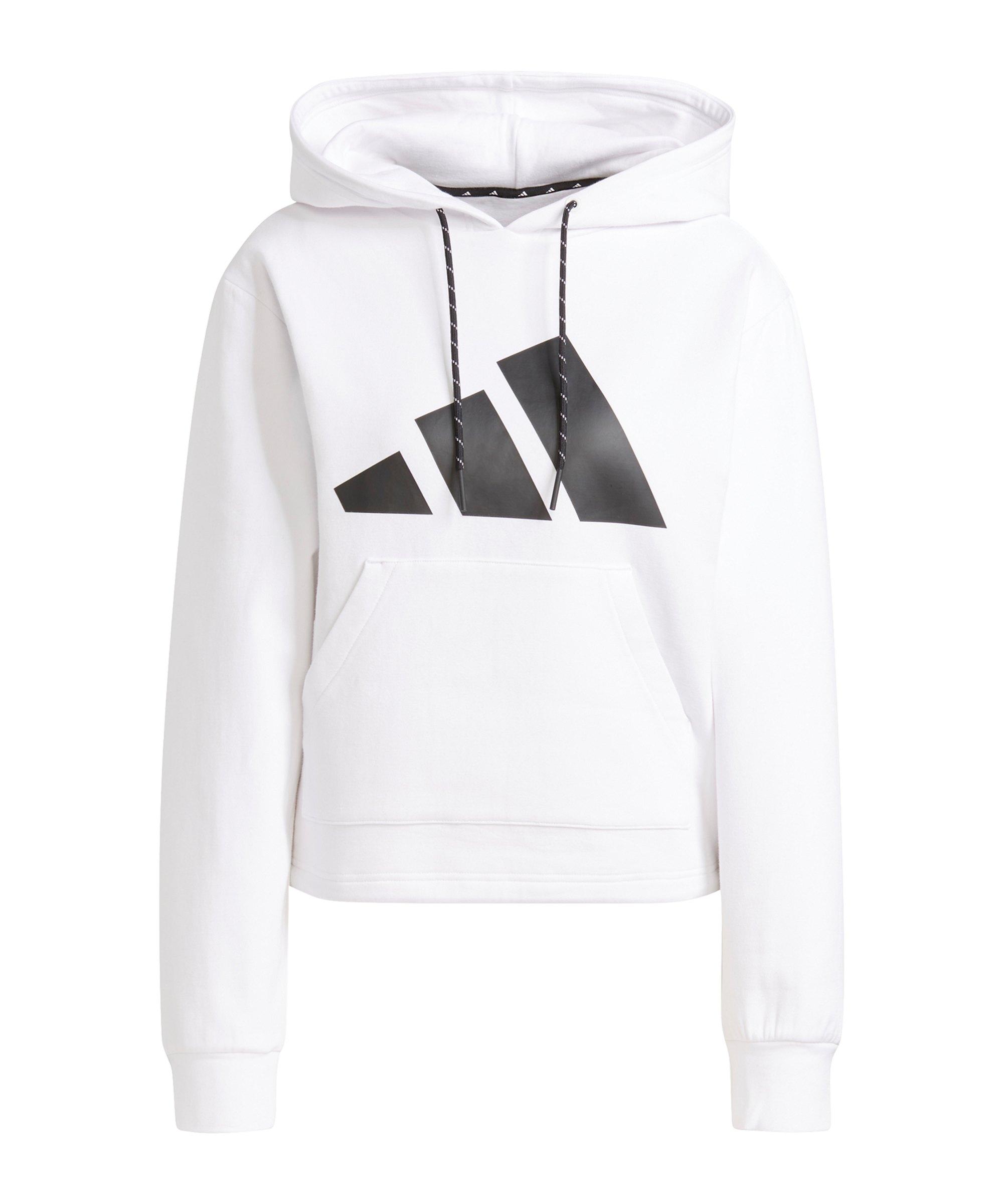 adidas Relaxed Logo Hoody Damen Weiss - weiss