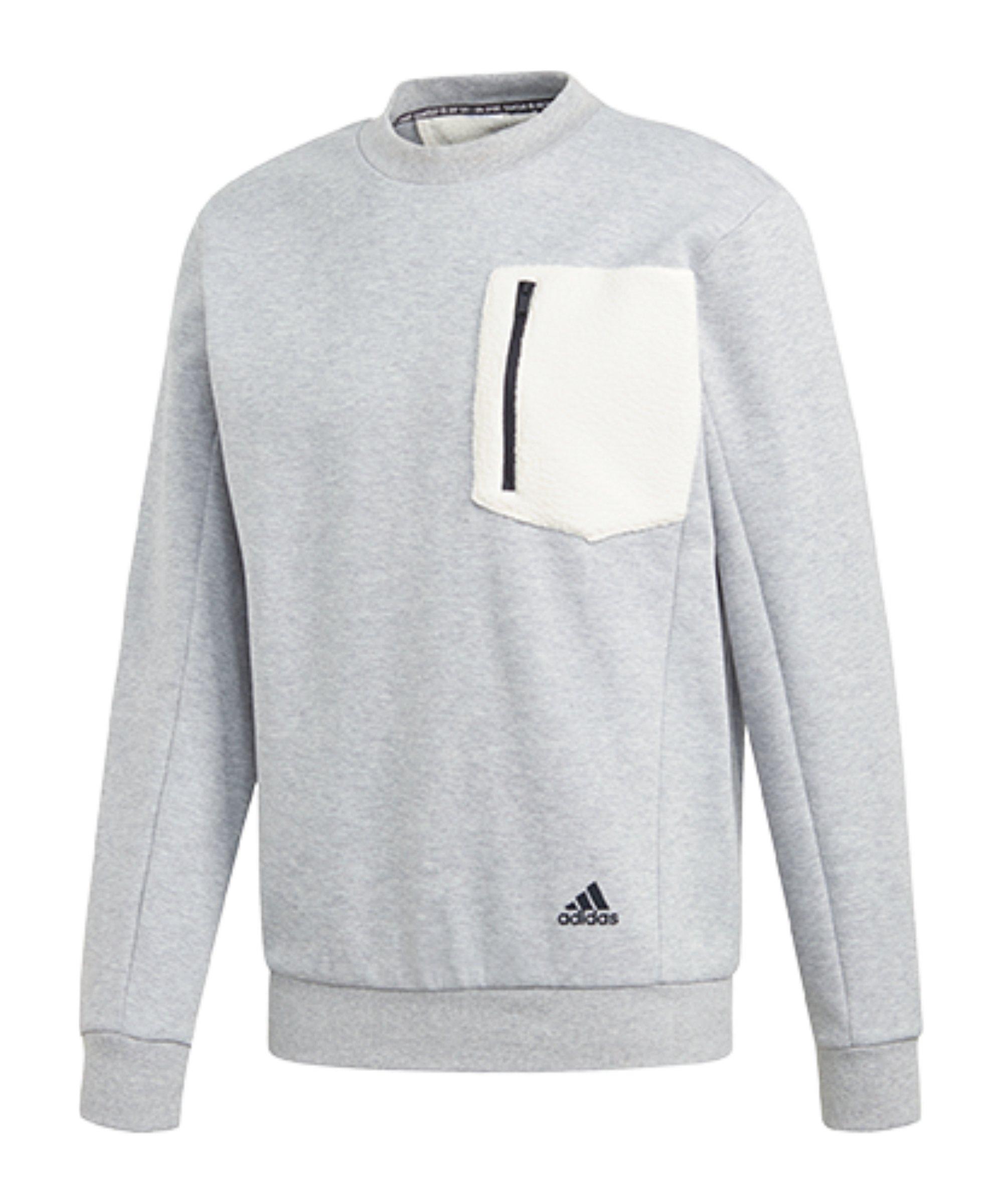 adidas BOS Fleece Sweatshirt Grau Weiss - grau
