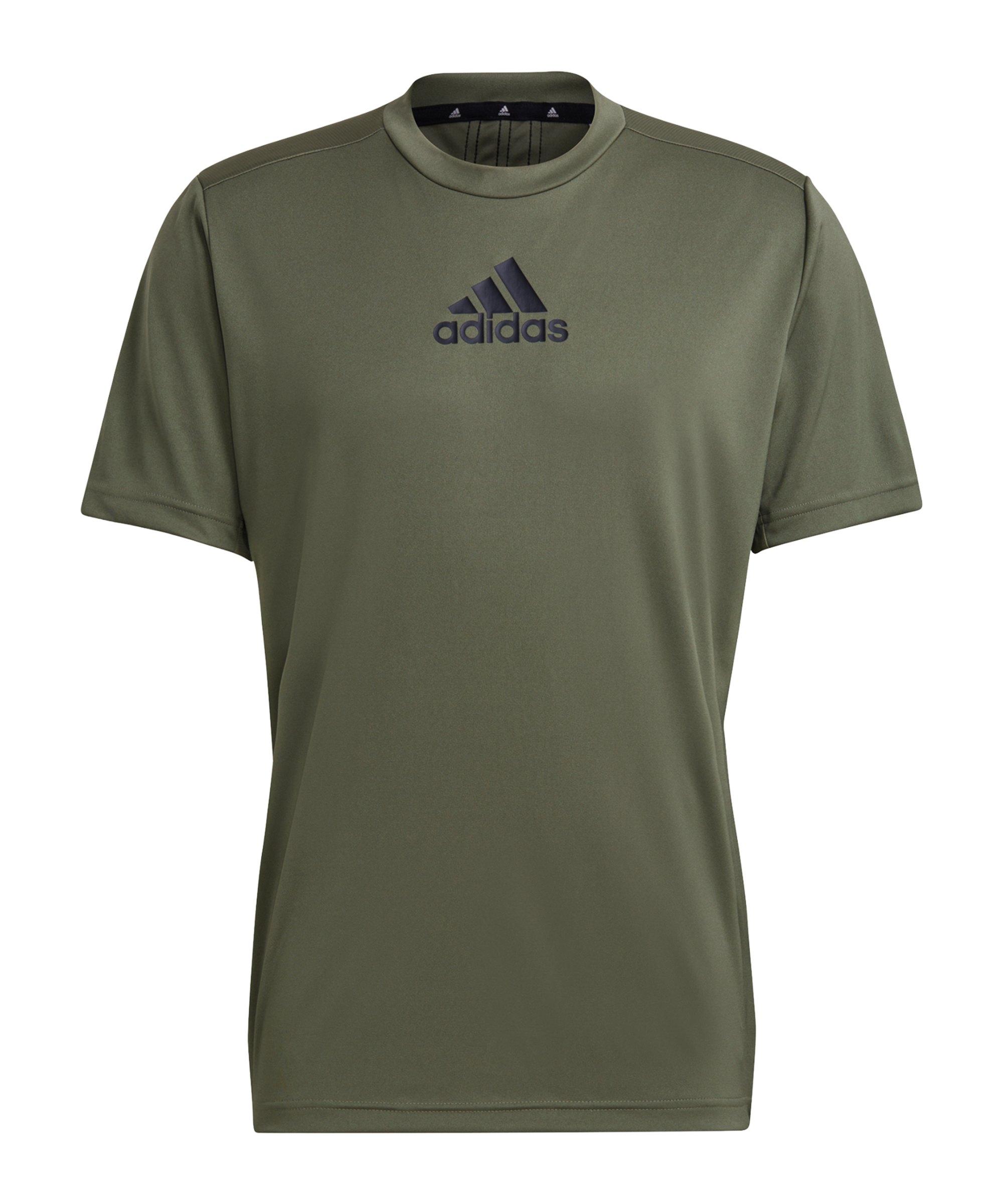 adidas D2M 3 Stripes T-Shirt Grün Schwarz - gruen