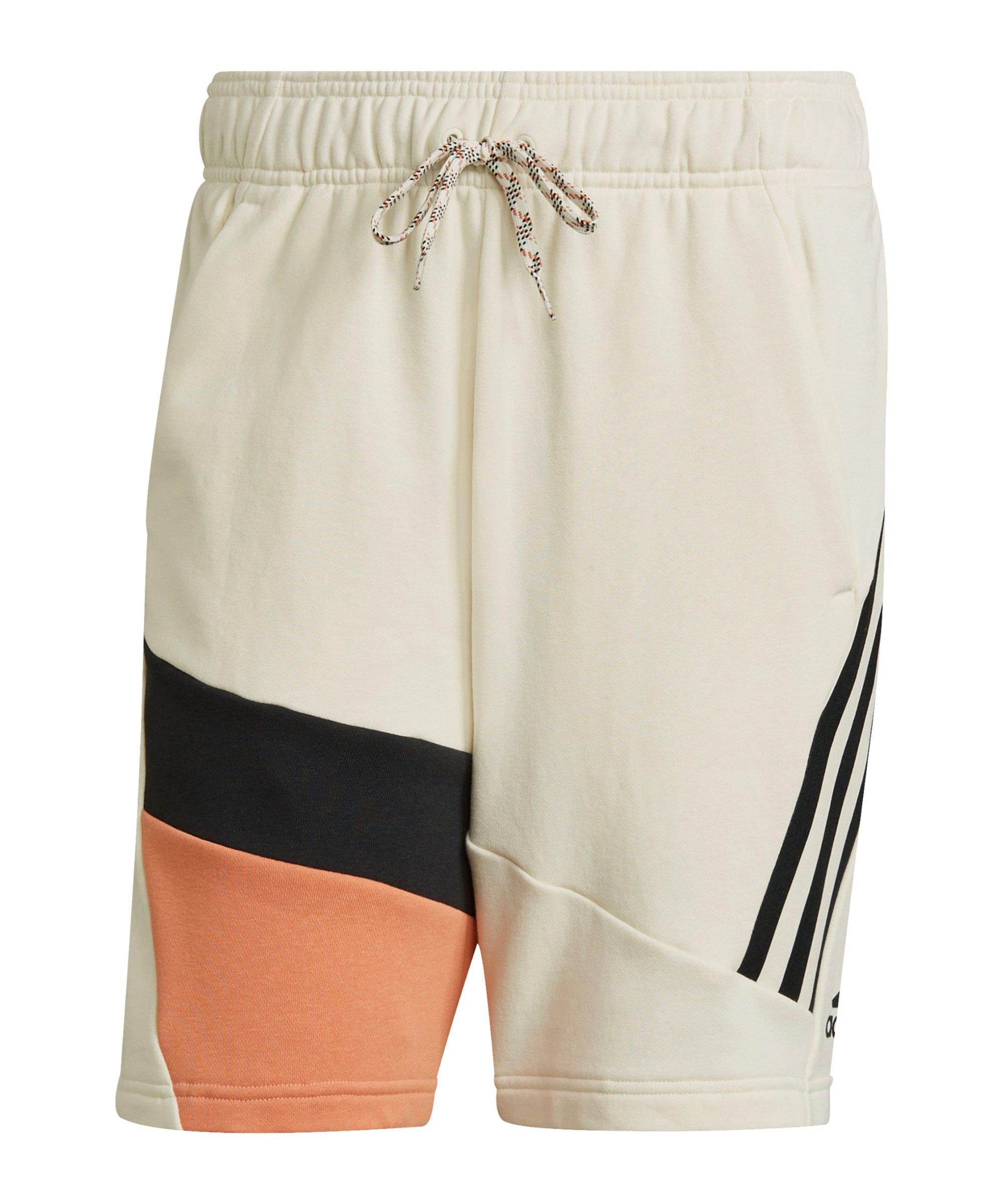 adidas 3 Stripes Tape Summer Short Weiss Orange - weiss