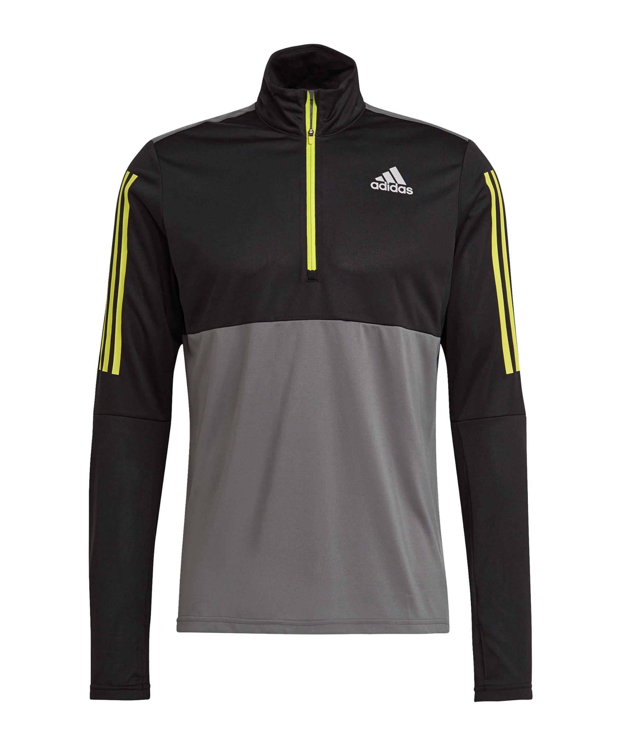 adidas Own The Run Drilltop Running Schwarz Grau - schwarz