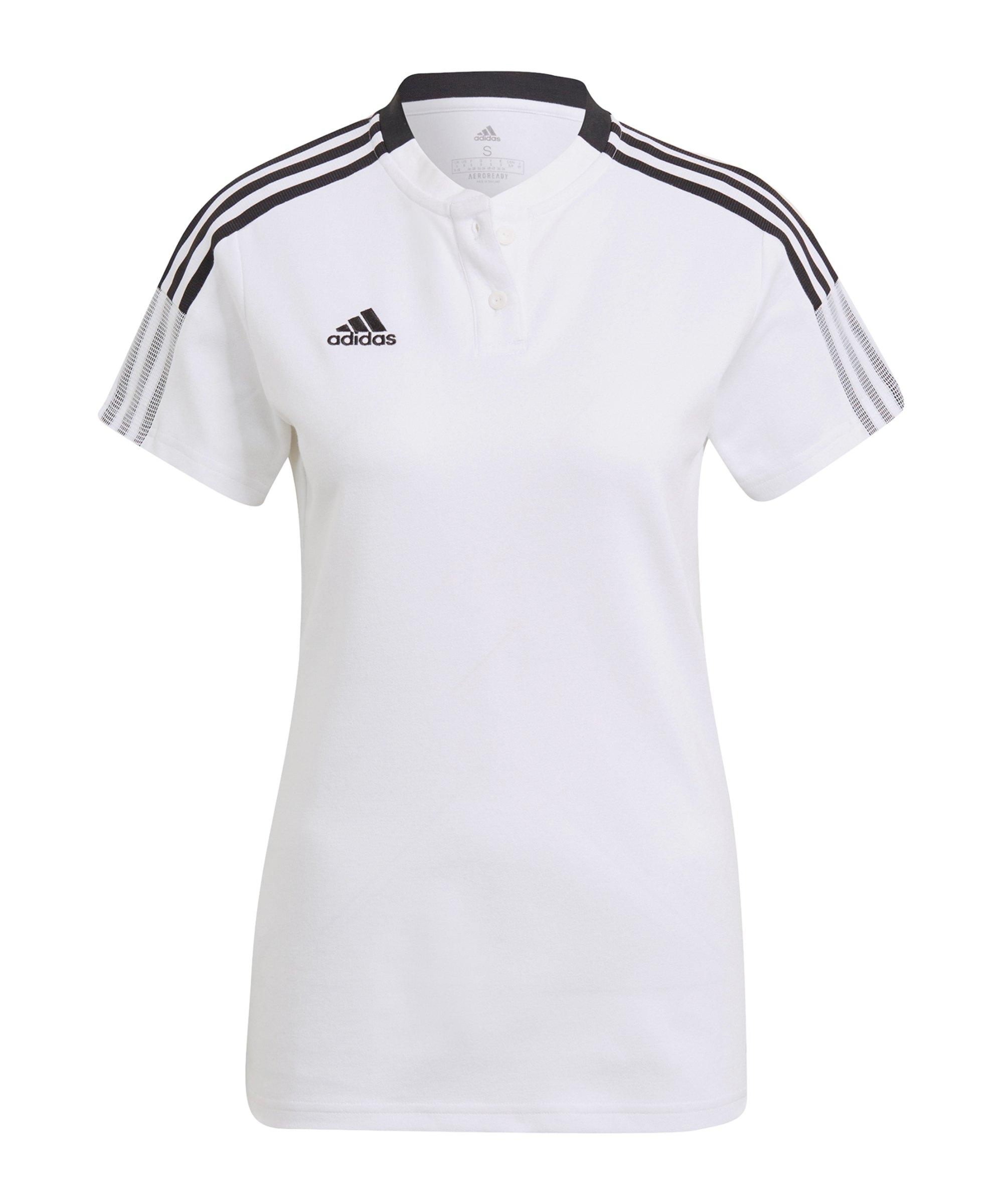 adidas Tiro 21 Poloshirt Damen Weiss - weiss