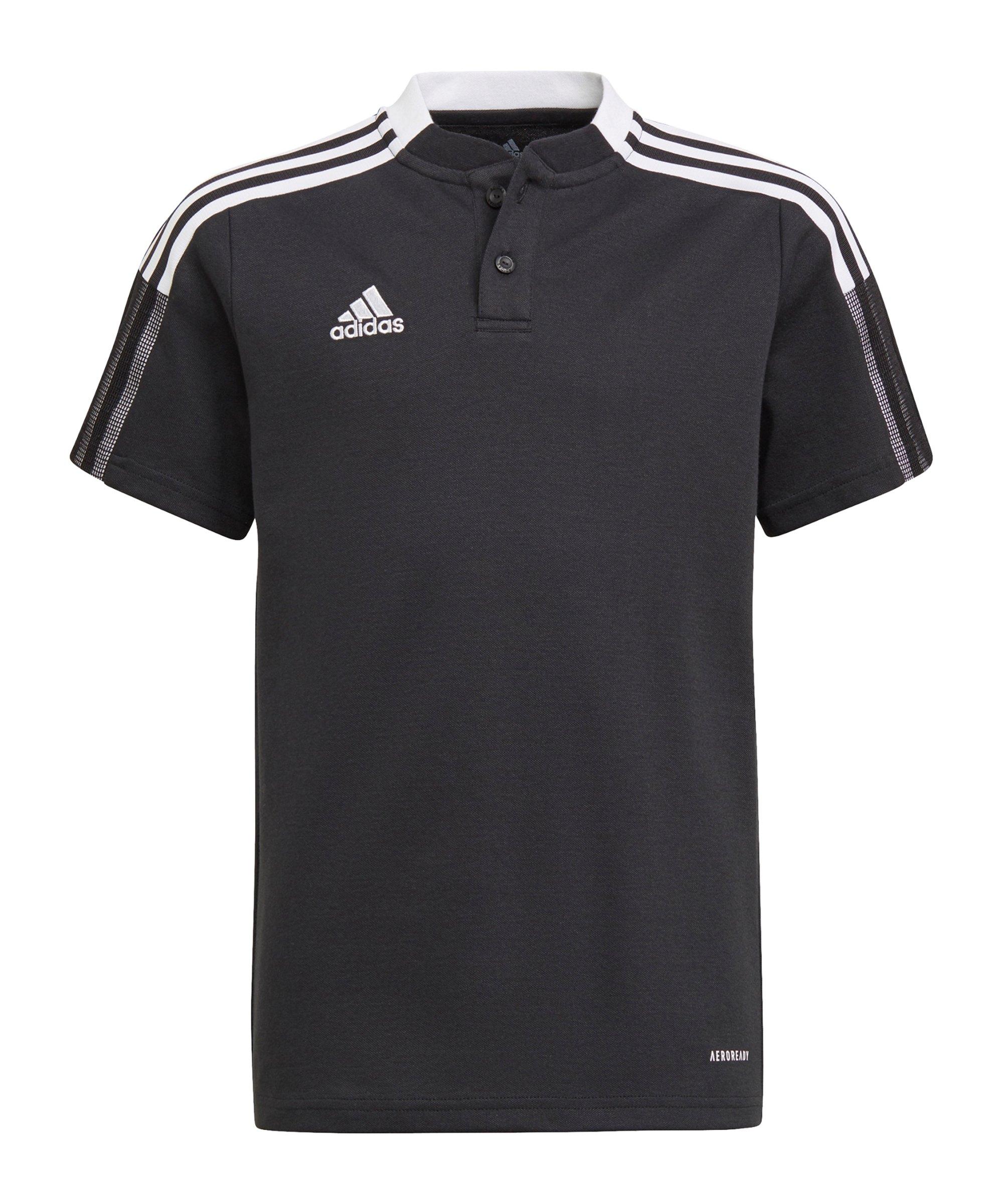 adidas Tiro 21 Poloshirt Kids Schwarz - schwarz
