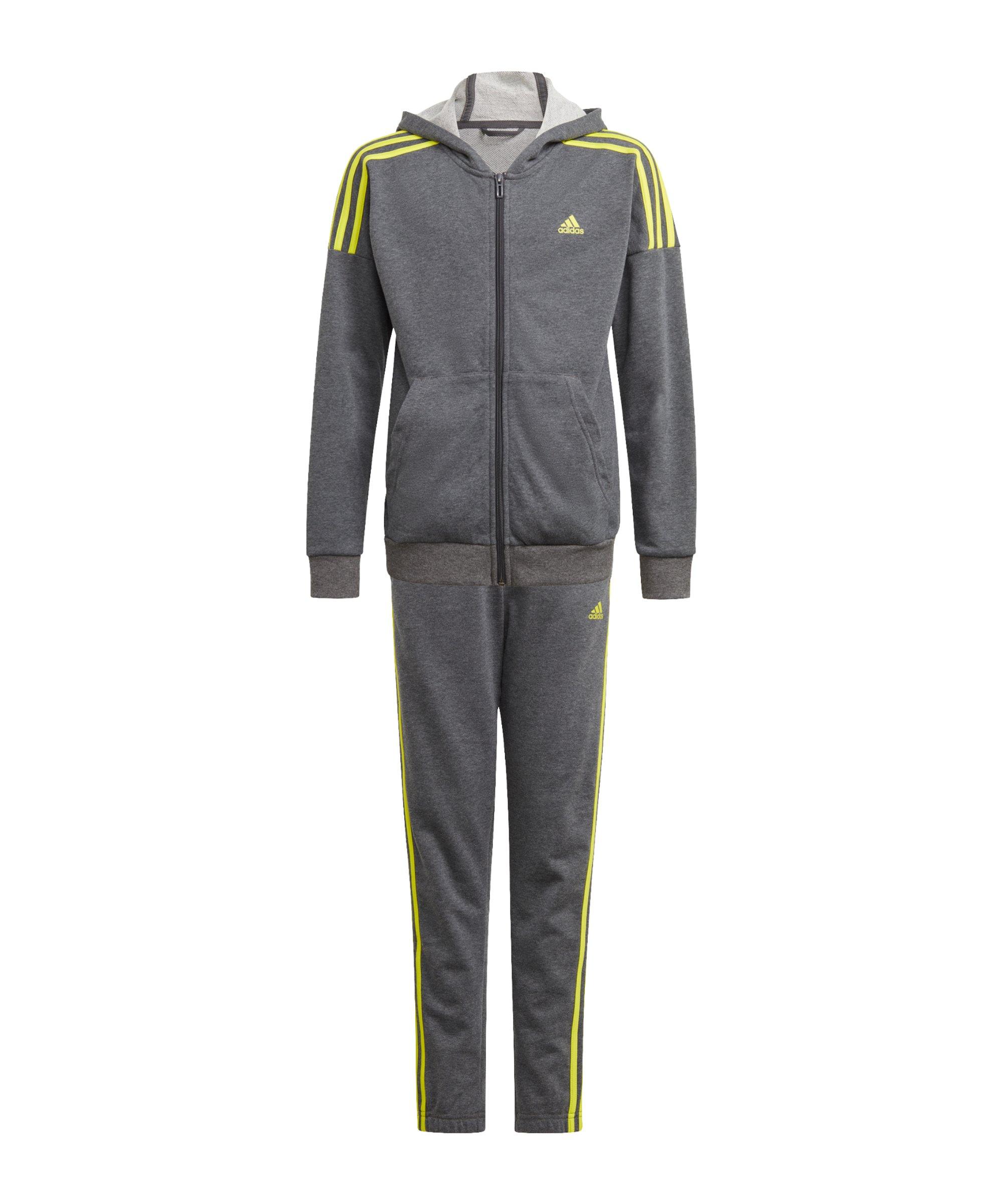 adidas Jogginganzug Kids Grau Gelb - grau